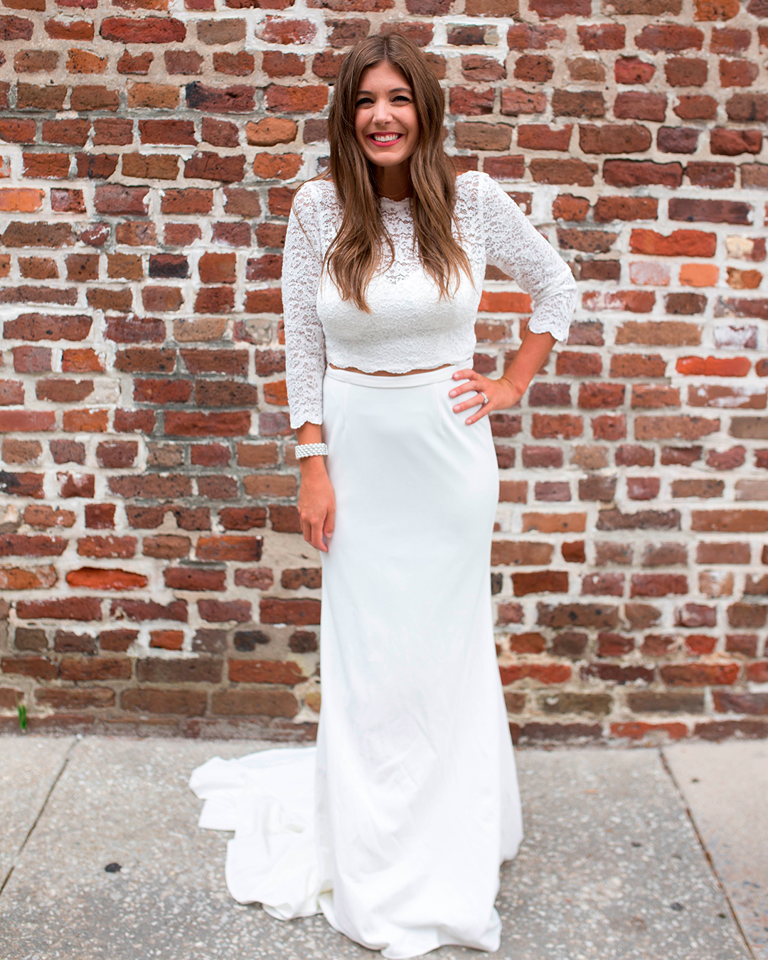 bride in two piece wedding dress