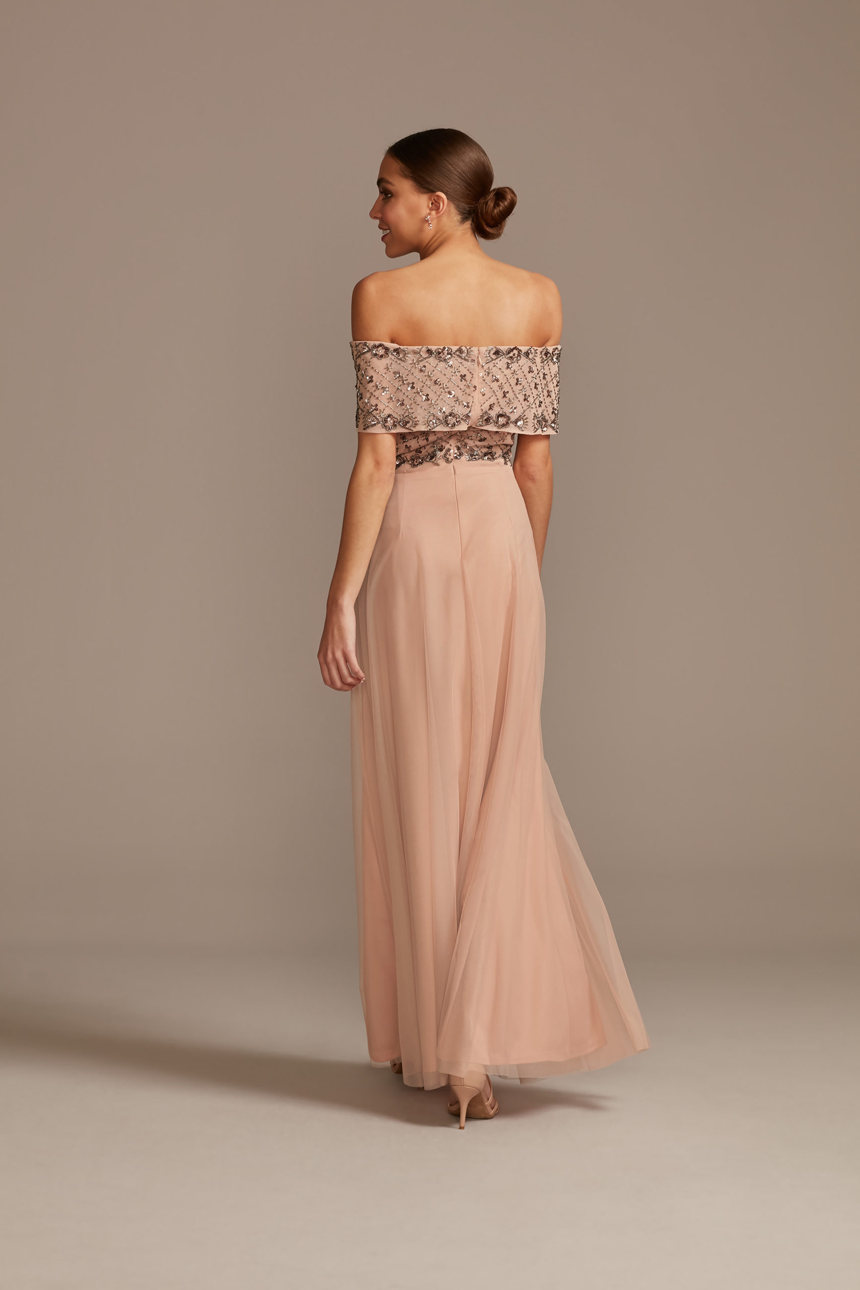 Pink off the shoulder mother of the bride dress