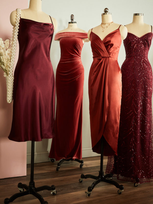 Bridesmaid dresses on bust forms