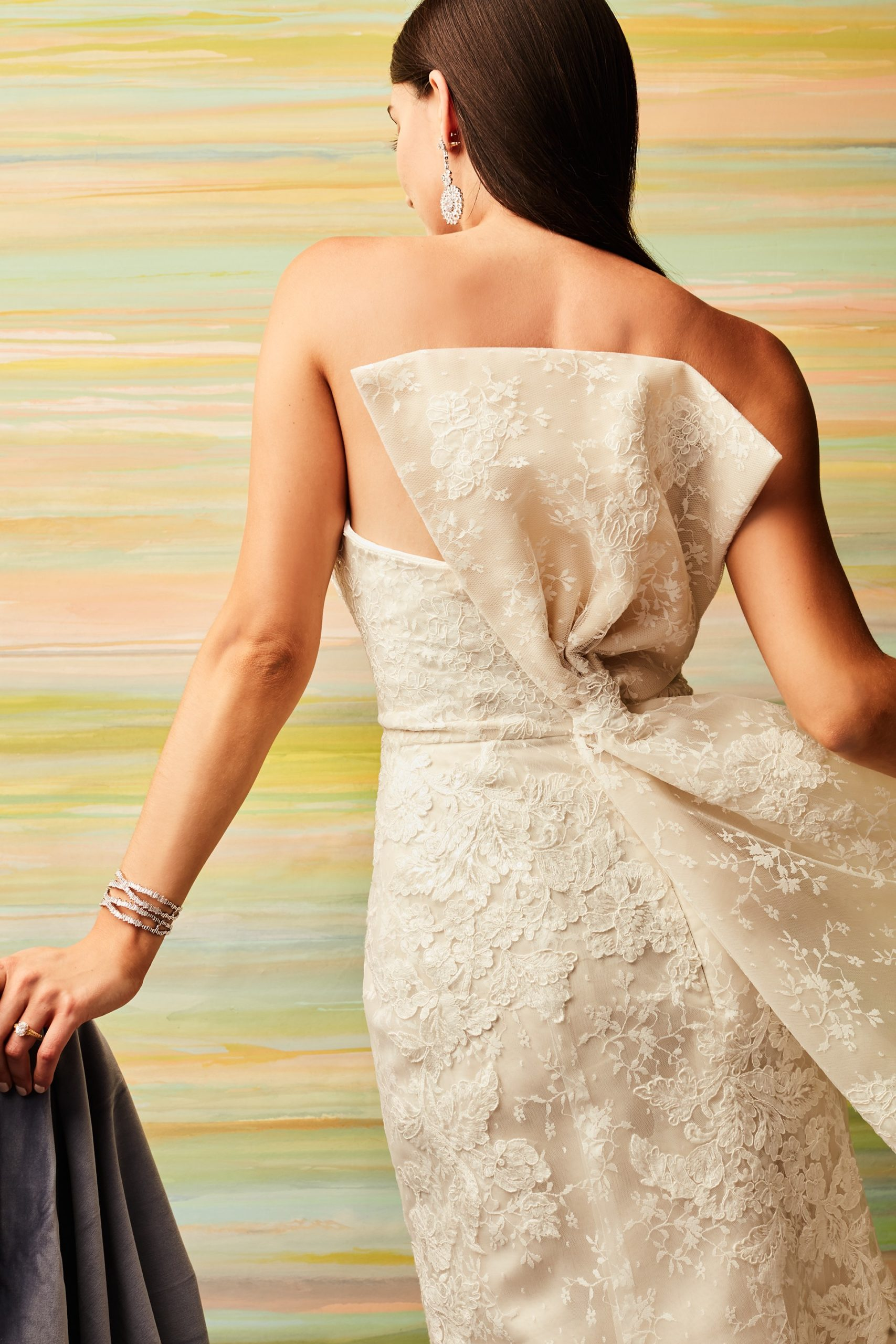 wedding dress with bow back detail