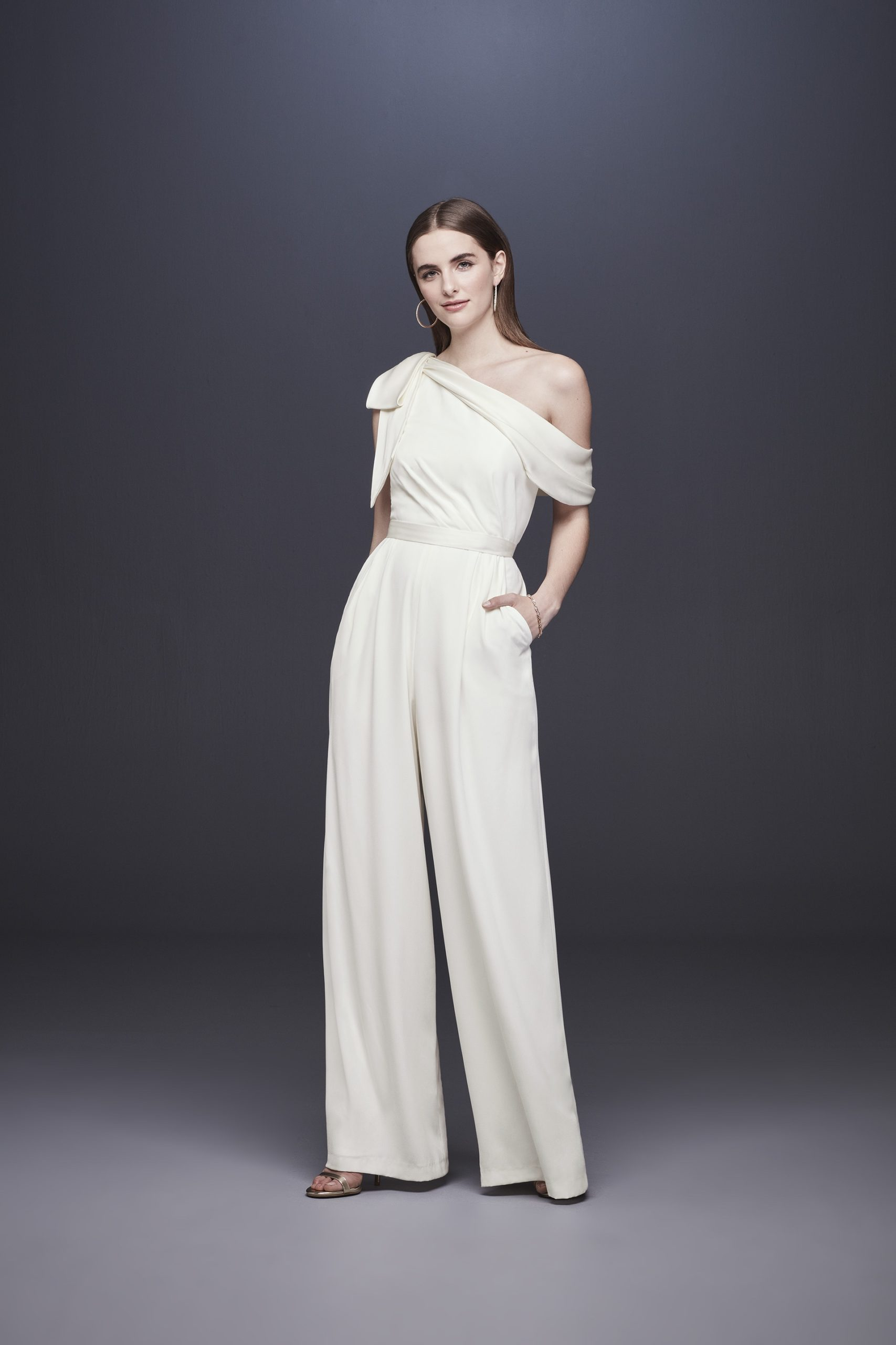 One Shoulder Bridal Jumpsuit