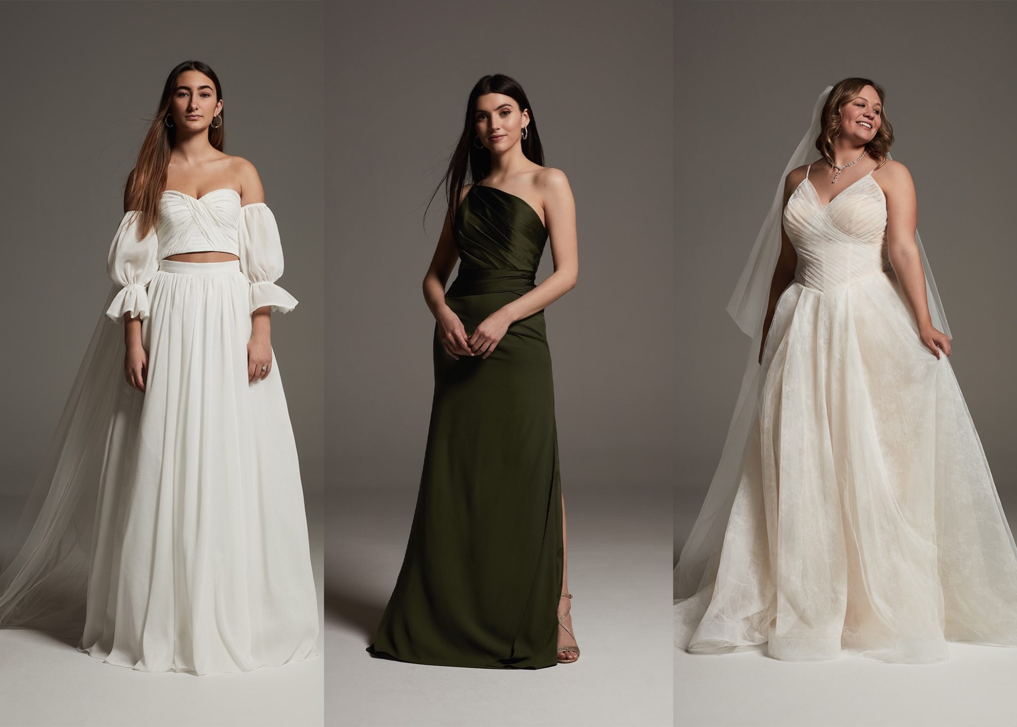WHITE by Vera Wang bridal gown and bridesmaid dresses