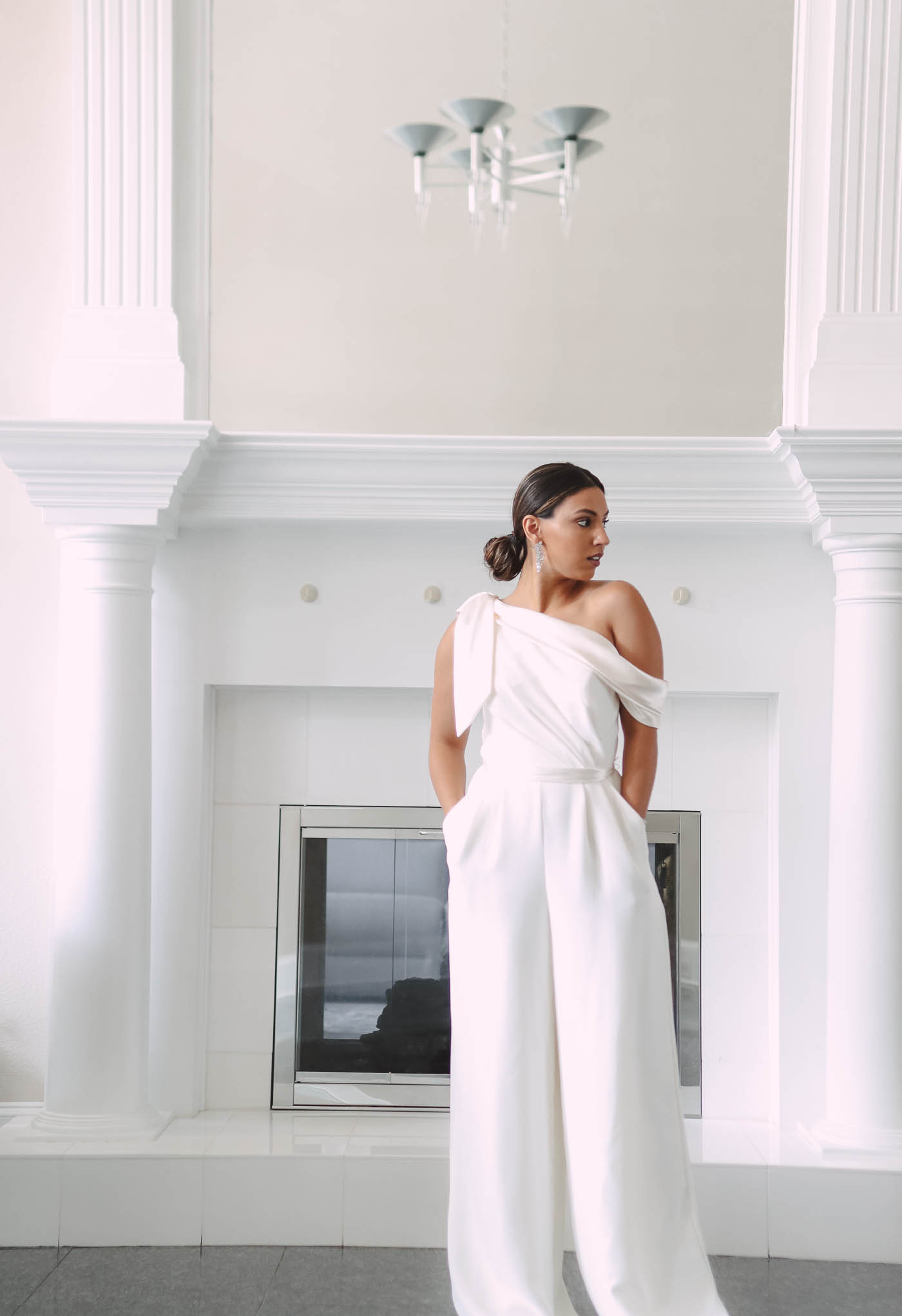 bride wearing wedding dress jumpsuit