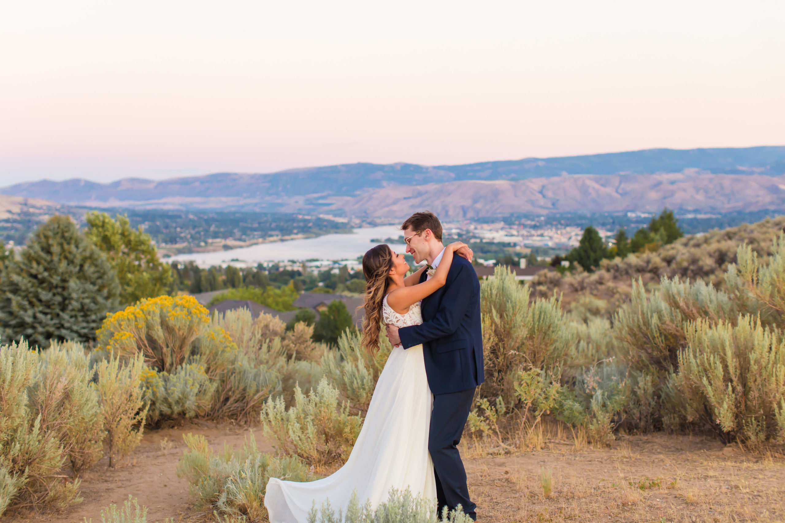 Bride and Groom with scenic mountain backdrop