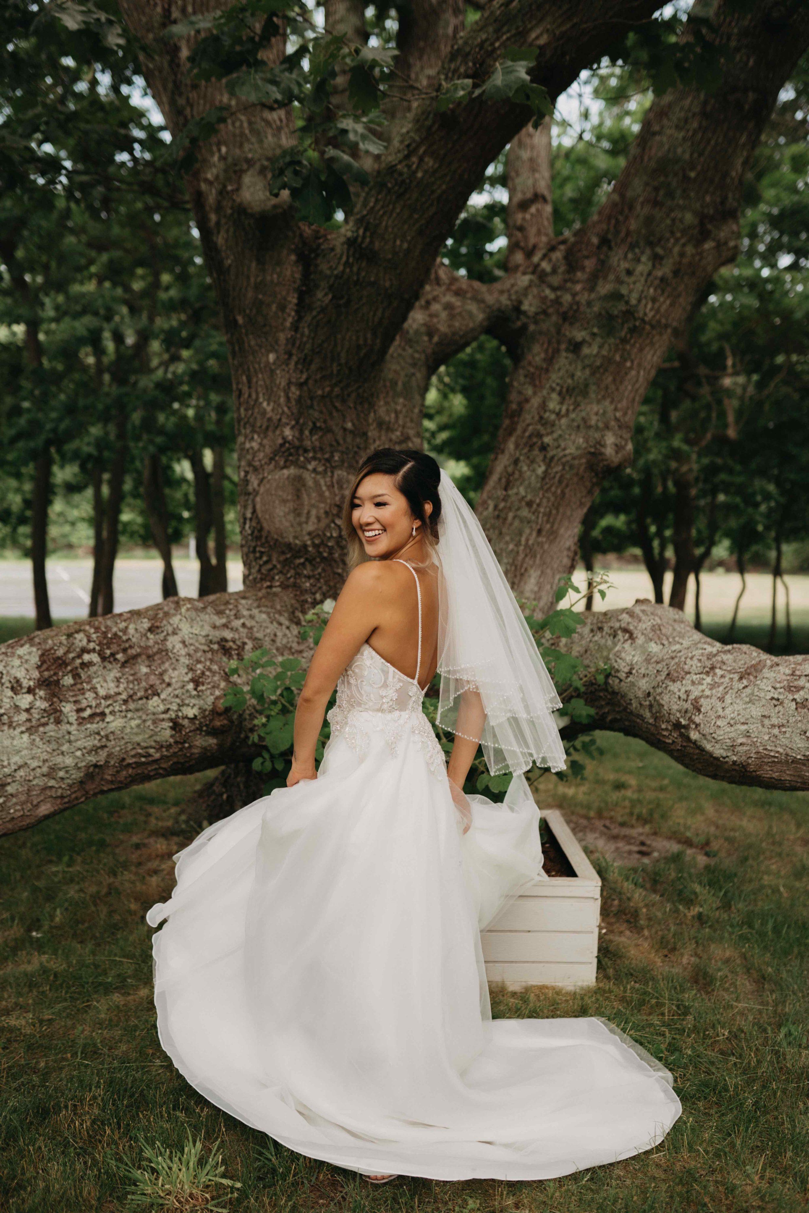 bride twirling in her dress