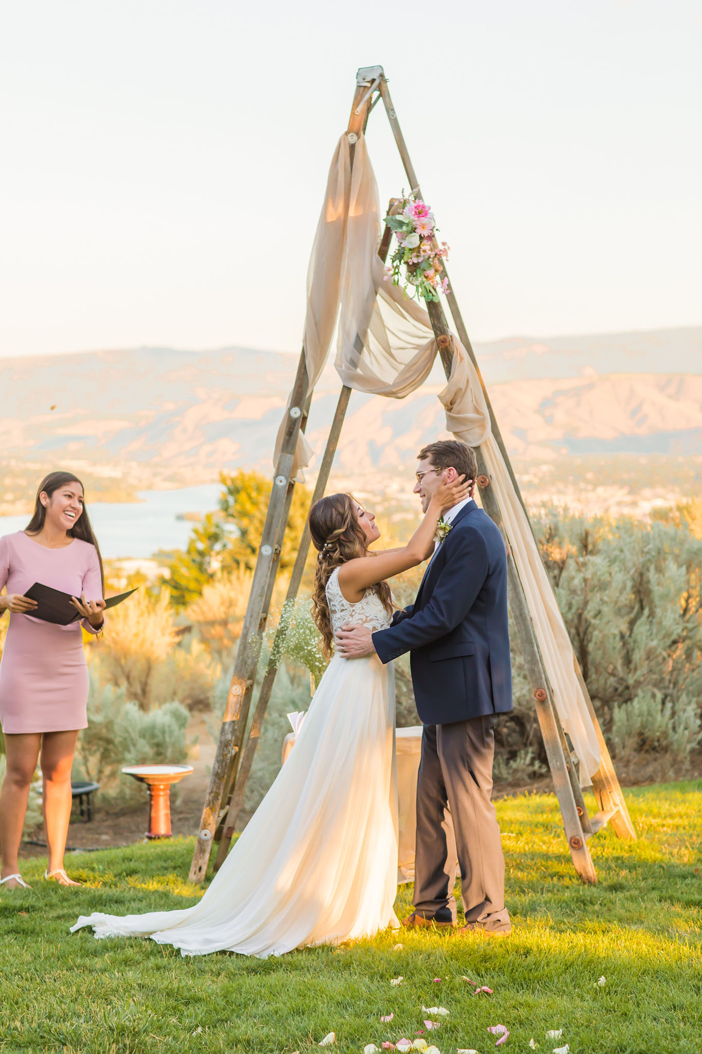 Bride and Groom at outdoor ceremony