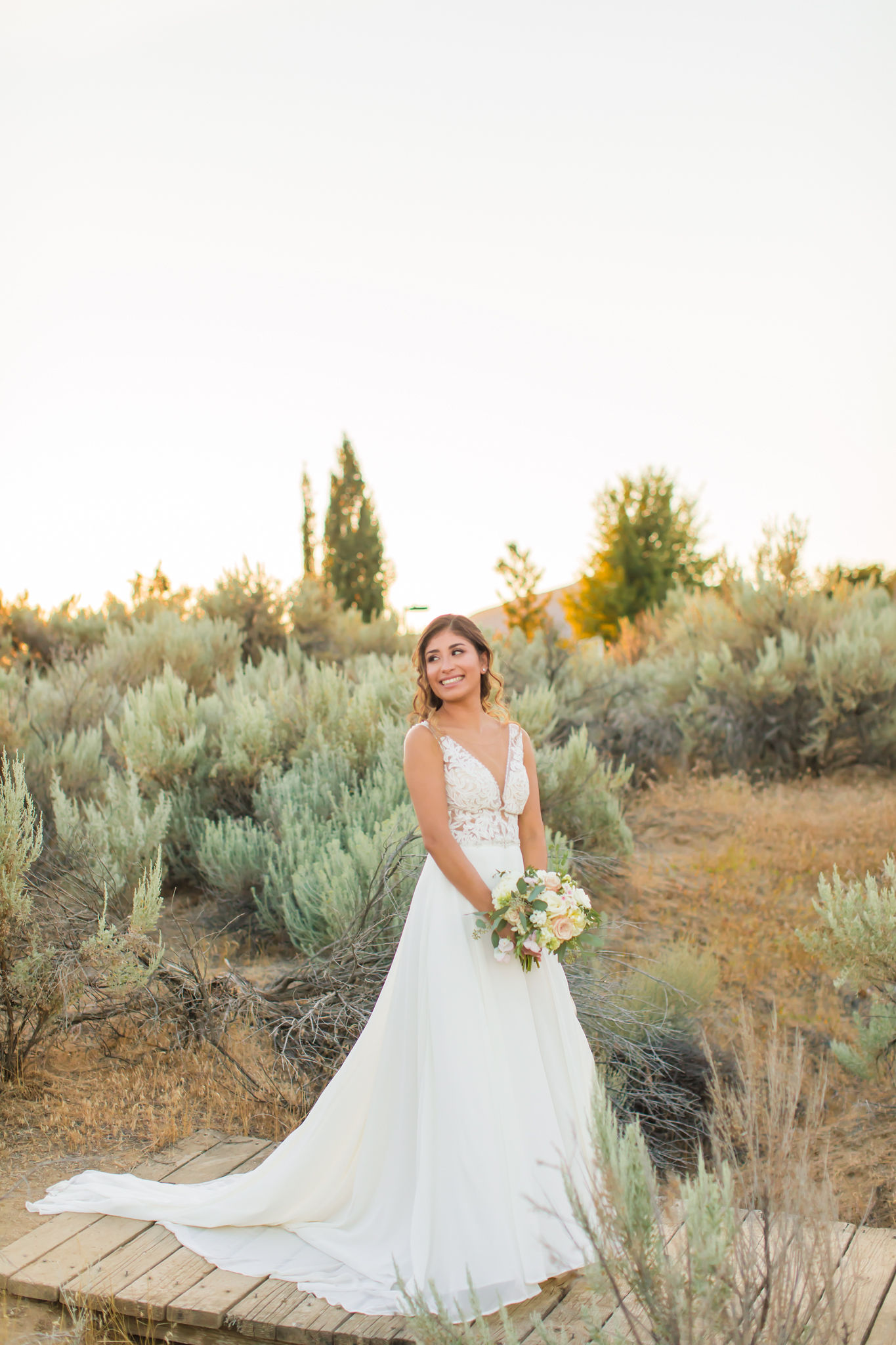 Solo shot of bride in wedding dress
