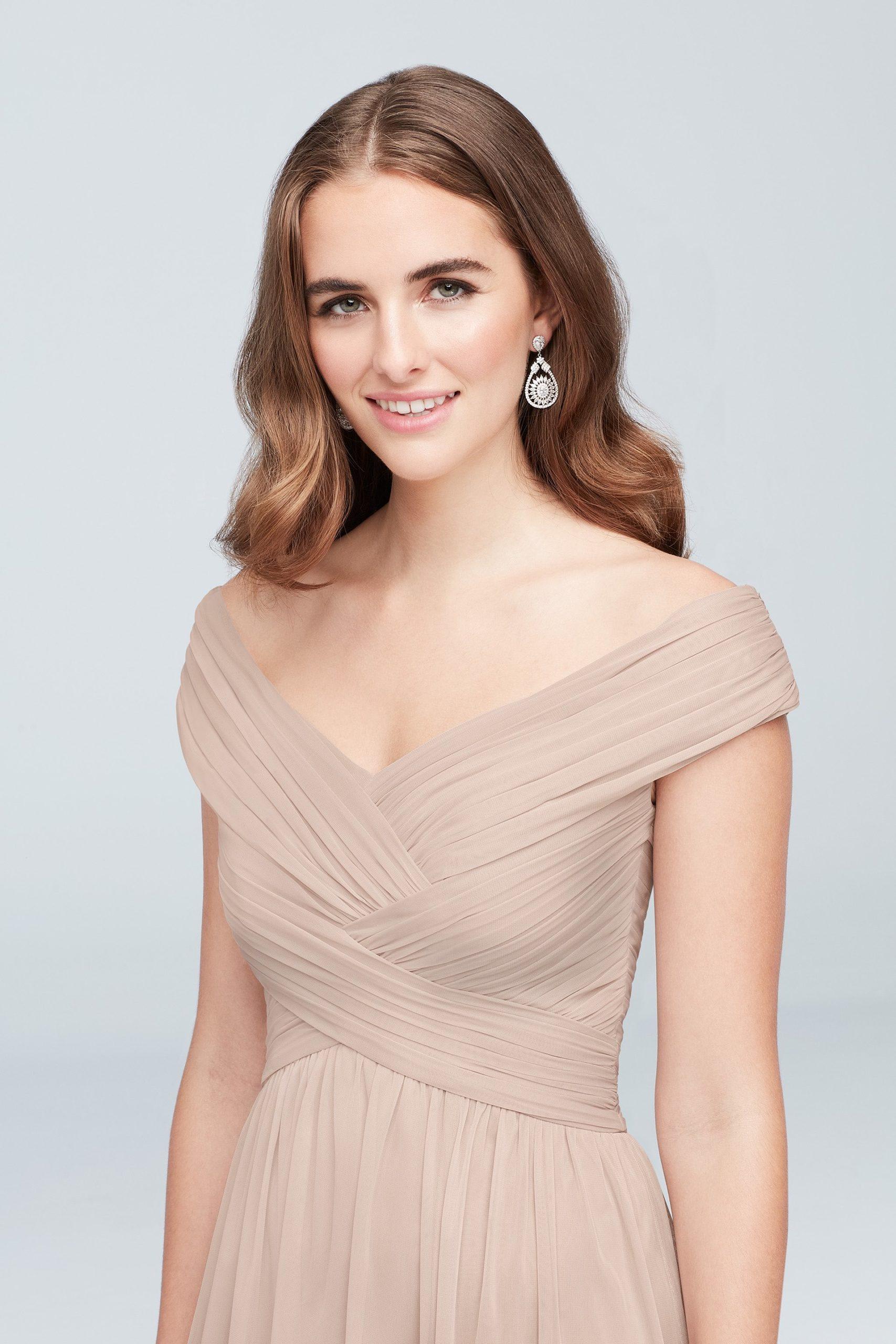 Crisscross Off-the-Shoulder Mesh Bridesmaid Dress