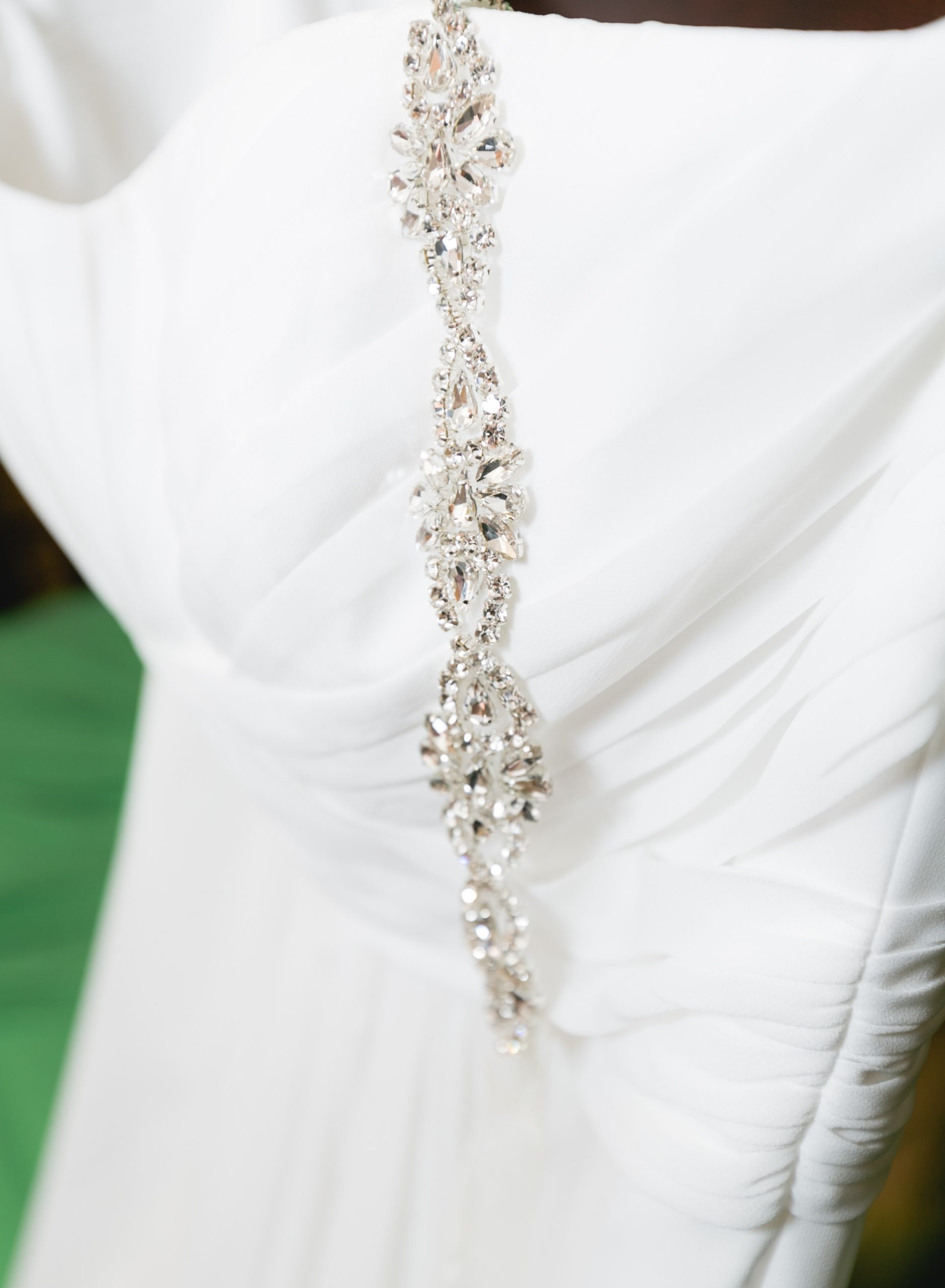 Wedding Dress and Sash Detail Shot
