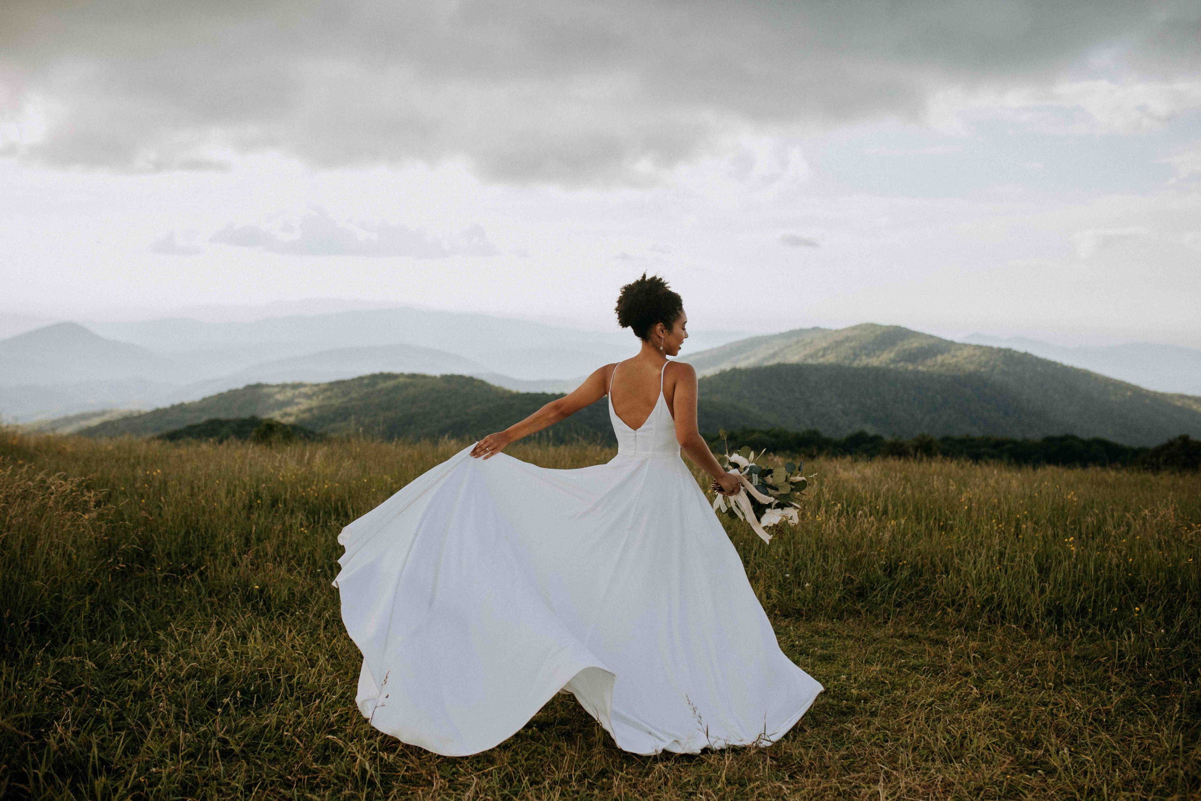 Brida twirling in wedding dress