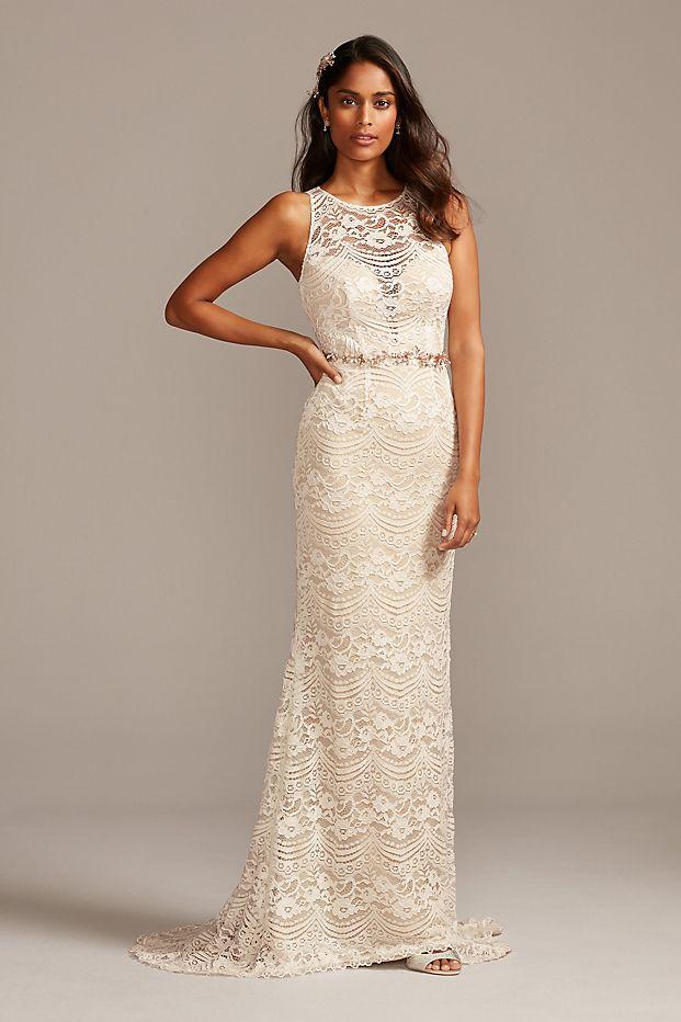 Illusion Chantilly Lace Wedding Dress