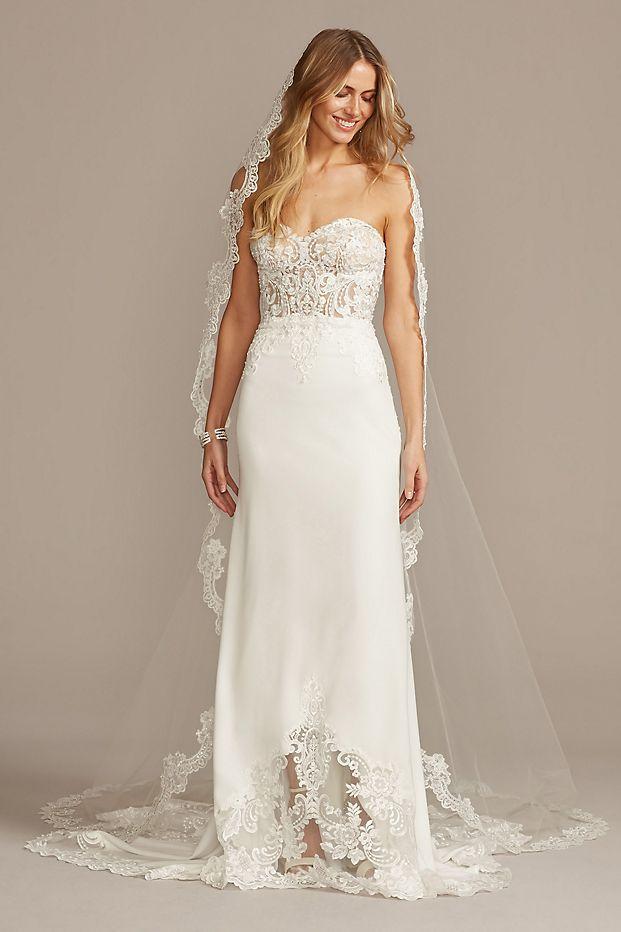 Sheer beaded bodice lace wedding dress