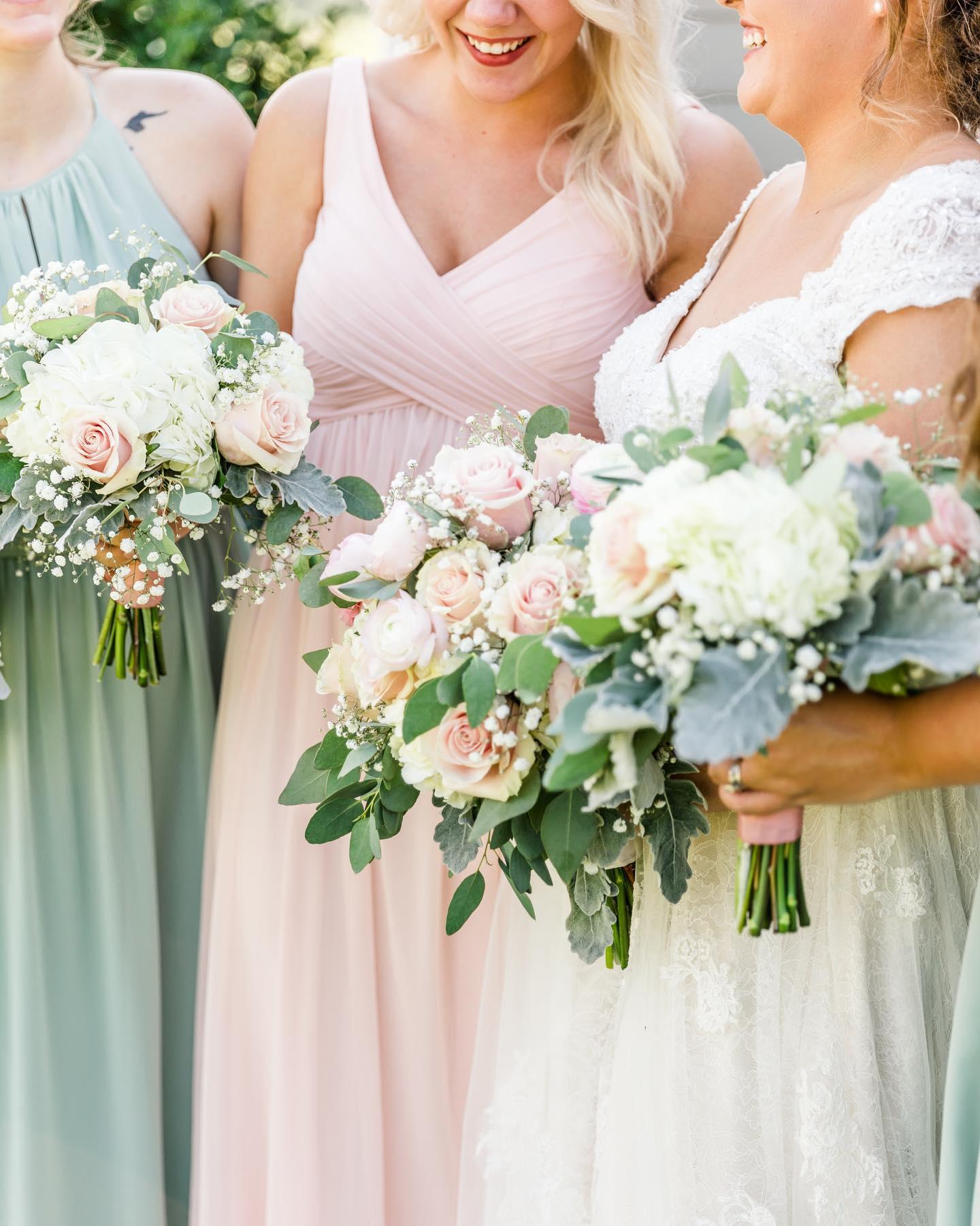 bridesmaids in spring wedding colors