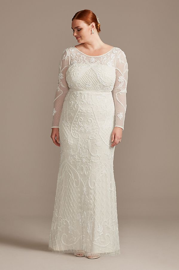 WGINAllover Scroll Beaded Long Sleeve Gown718