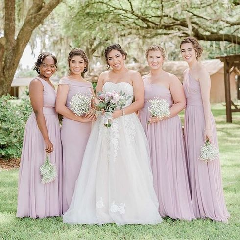 Bride with bridal party in pink