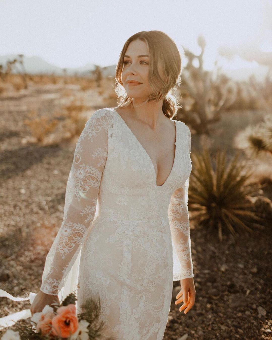 Solo bridal shot in desert