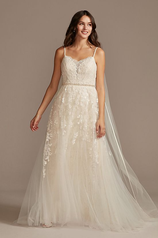 Pleated Lace Wedding Dress with Caged Tulle Skirt
