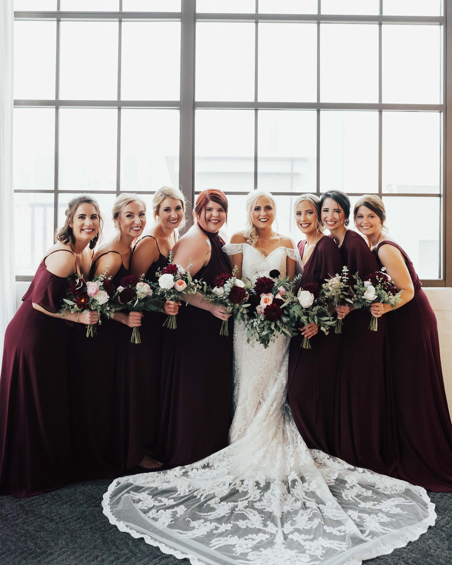 bridal party in wine