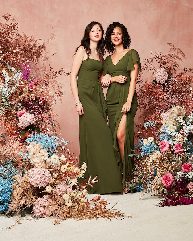 bridesmaids in martini olive bridesmaid dresses