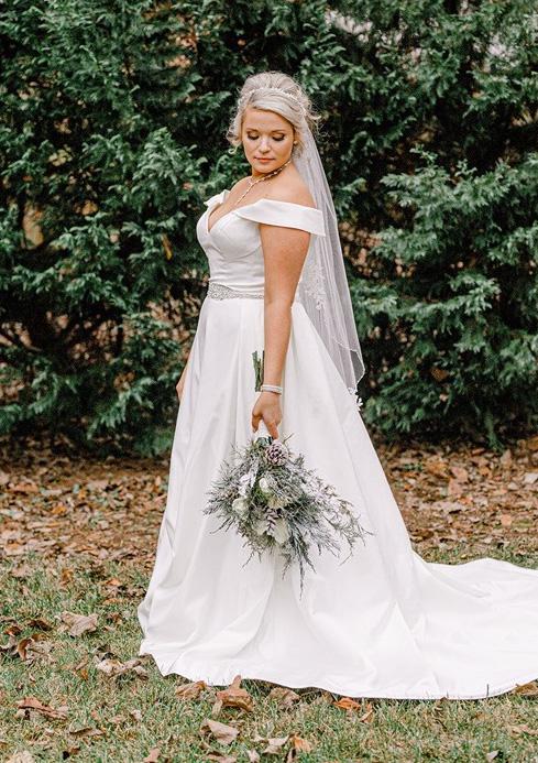 WInter bride wearing an all satin ball gown