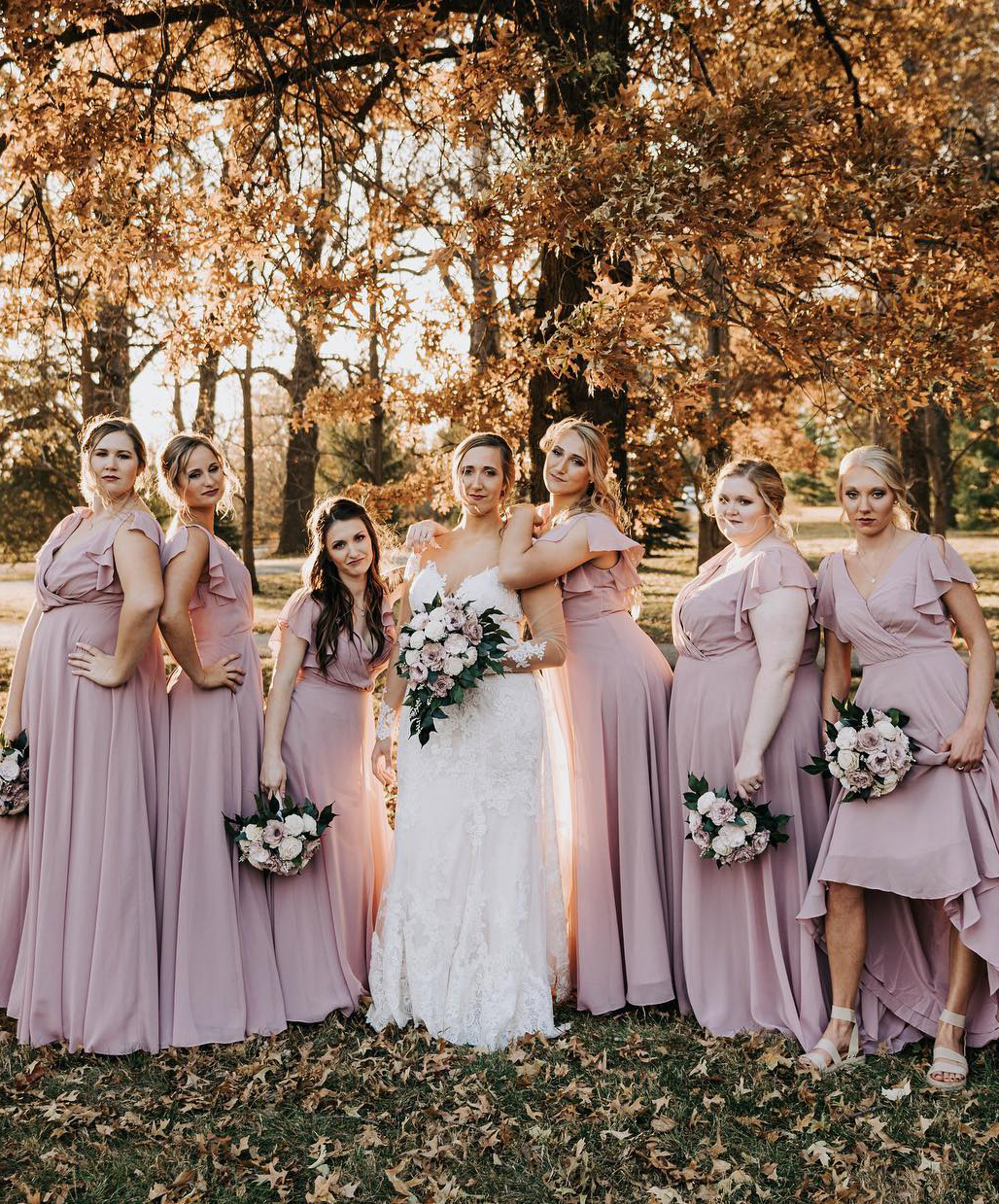 bridal party wearing quartz bridesmaid dresses with flutter sleeves