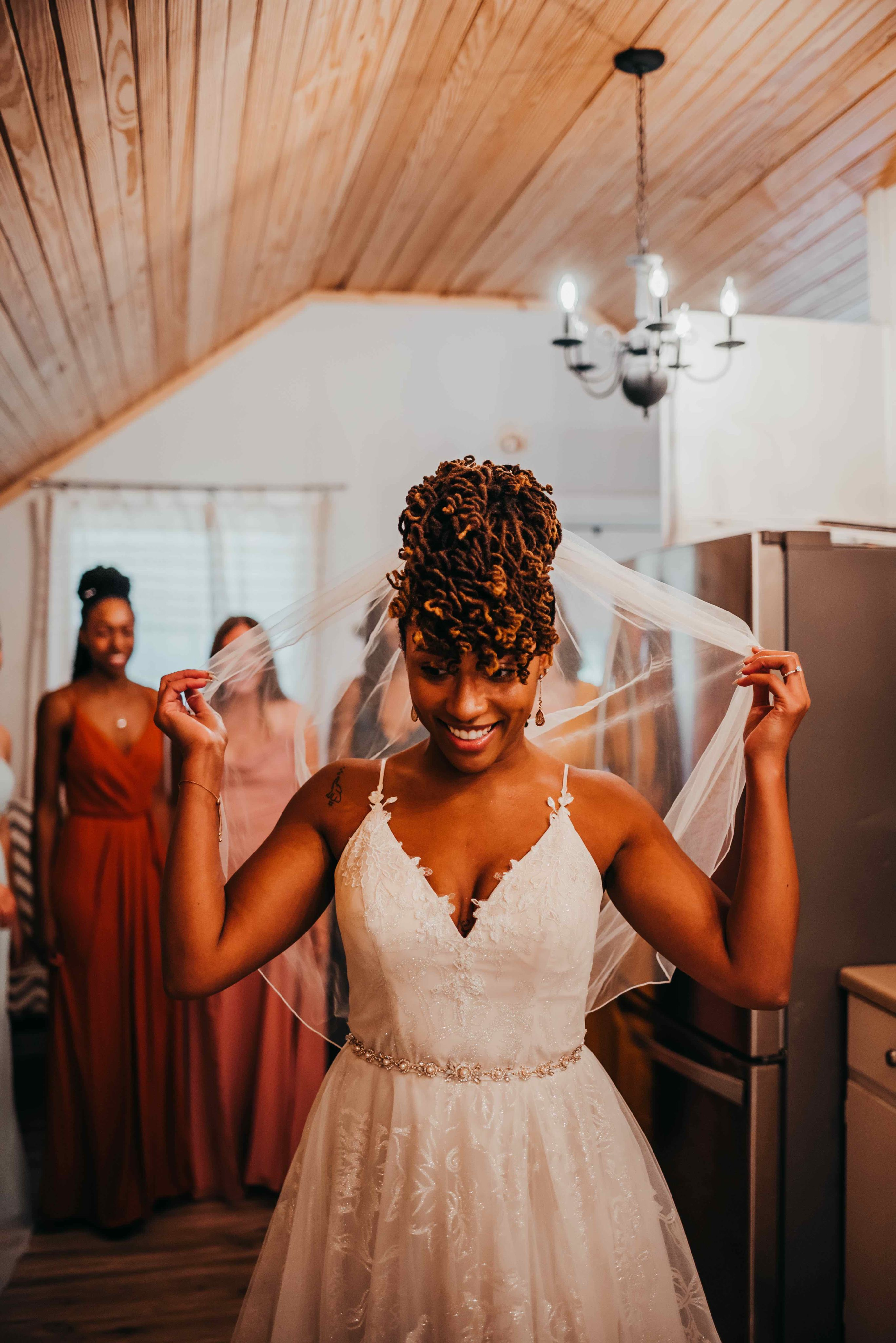 Bride and bridesmaid first look