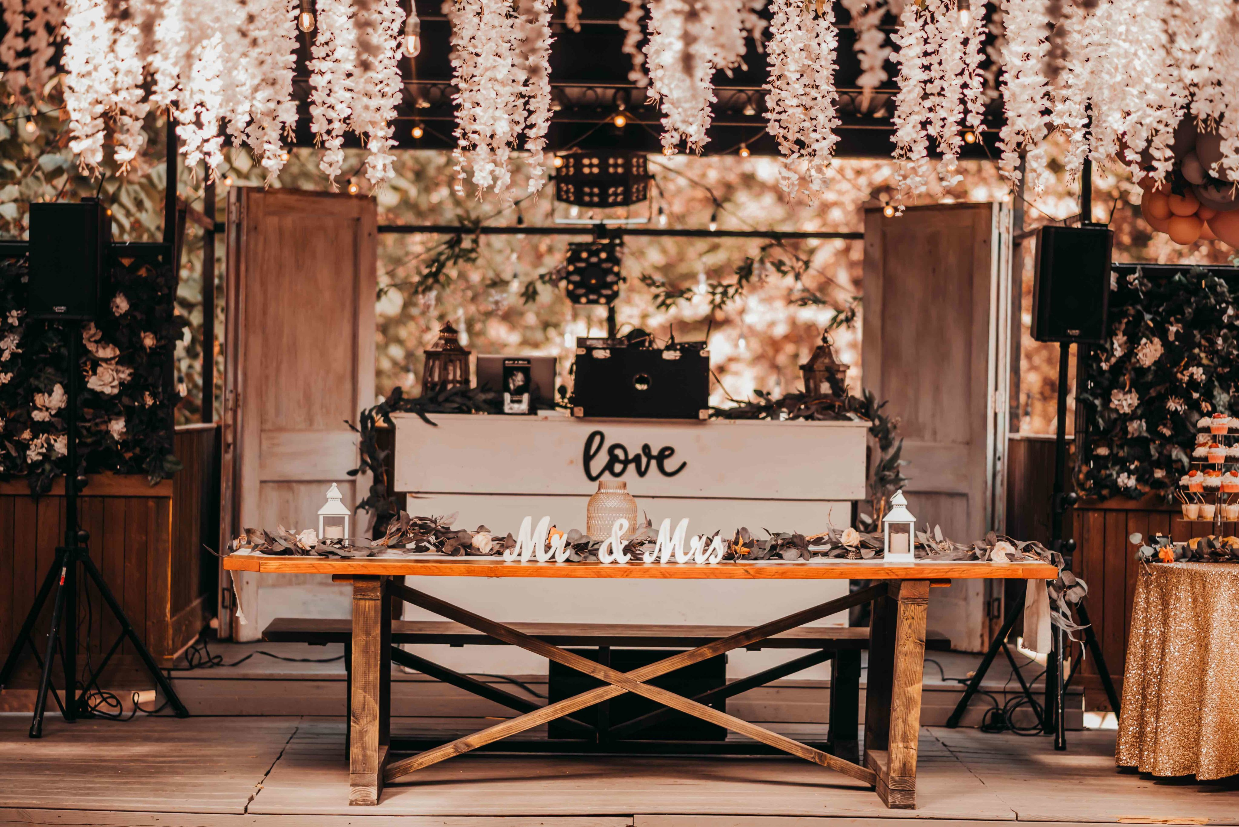 Couples table at reception
