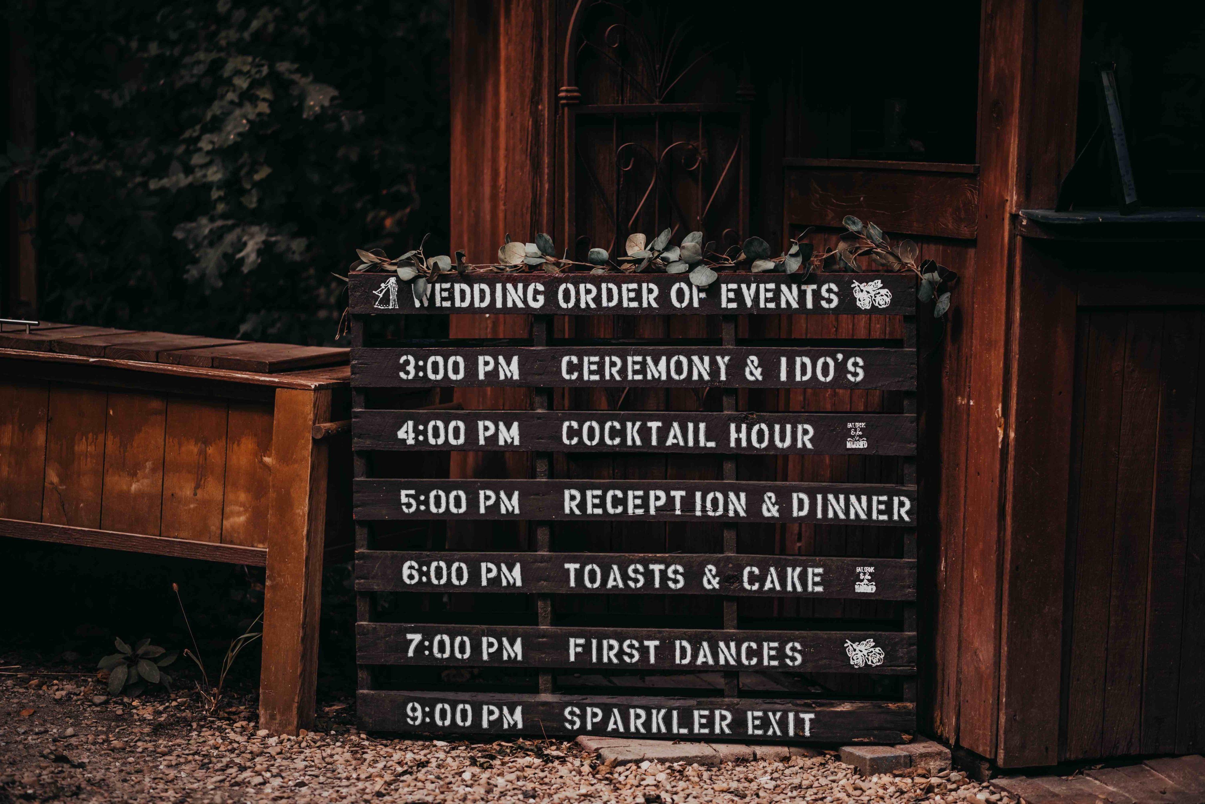 DIY Wedding Schedule