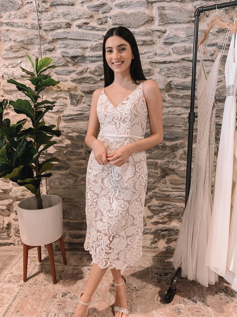 bride in crochet lace midi dress