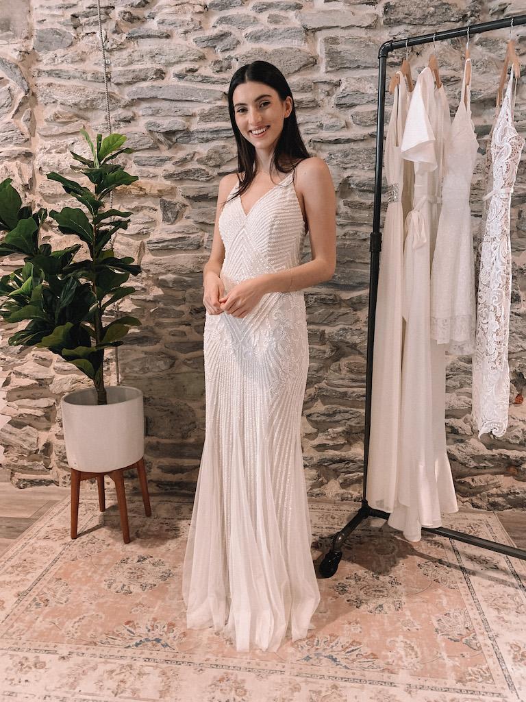 bride in long beaded white dress