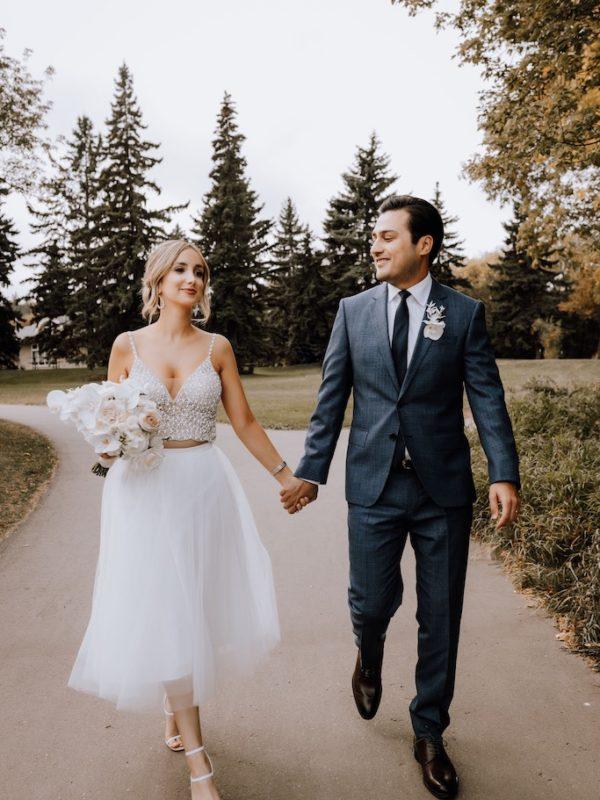 casual wedding bride and groom