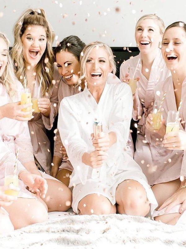 bridal party celebrating