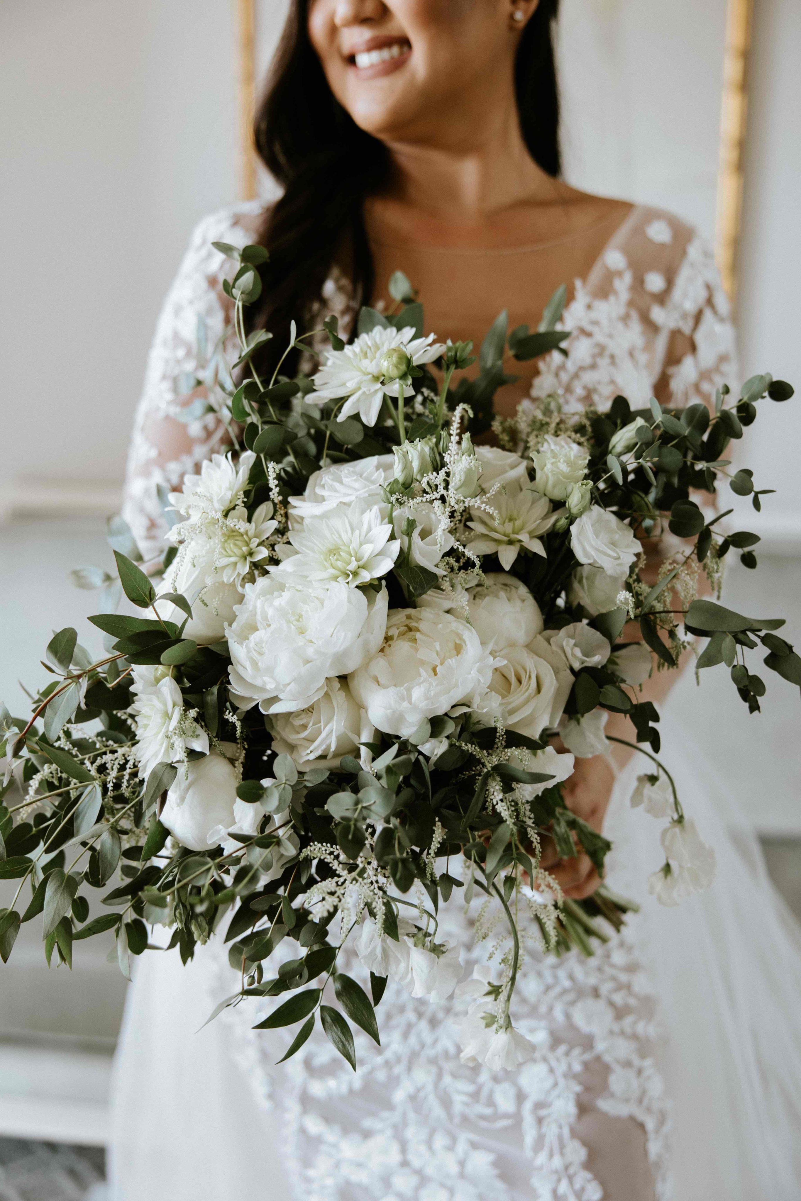 Bride holding her floral bouquet