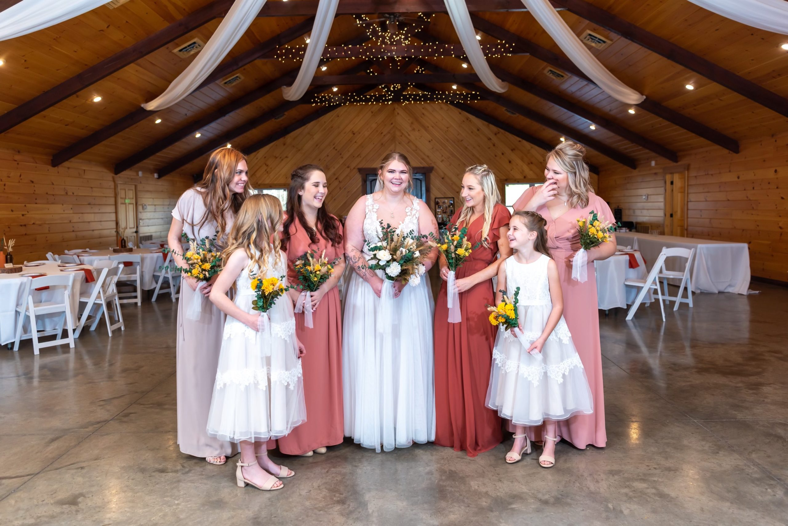 Bride with bridesmaids and flower girls!