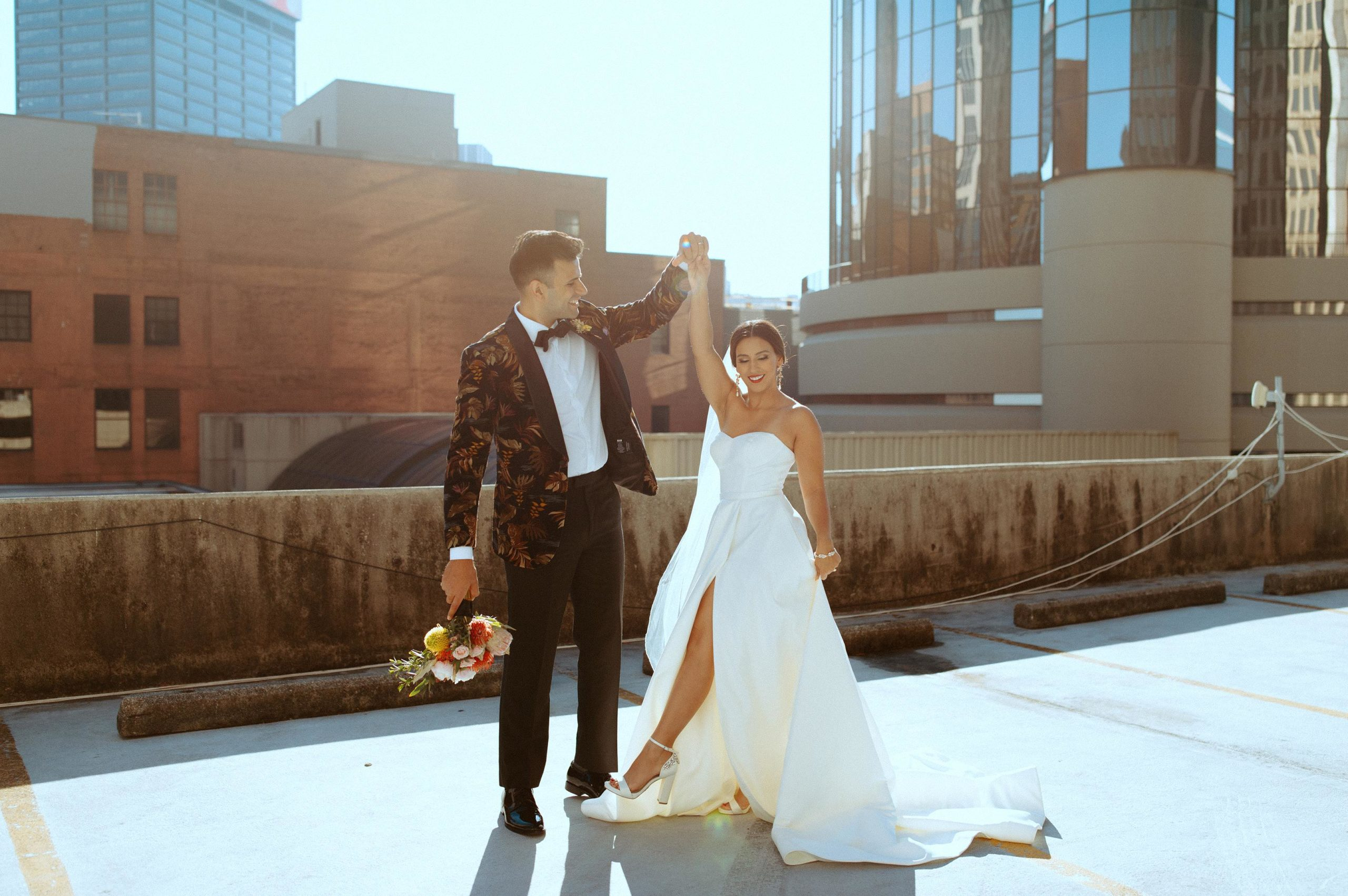 Sabrina in Style WG4017 with husband on Atlanta Rooftop