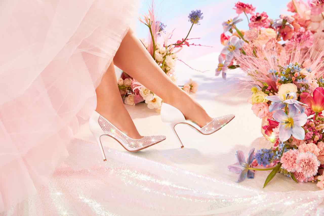 bride wearing Betsey Johnson x DB wedding shoes