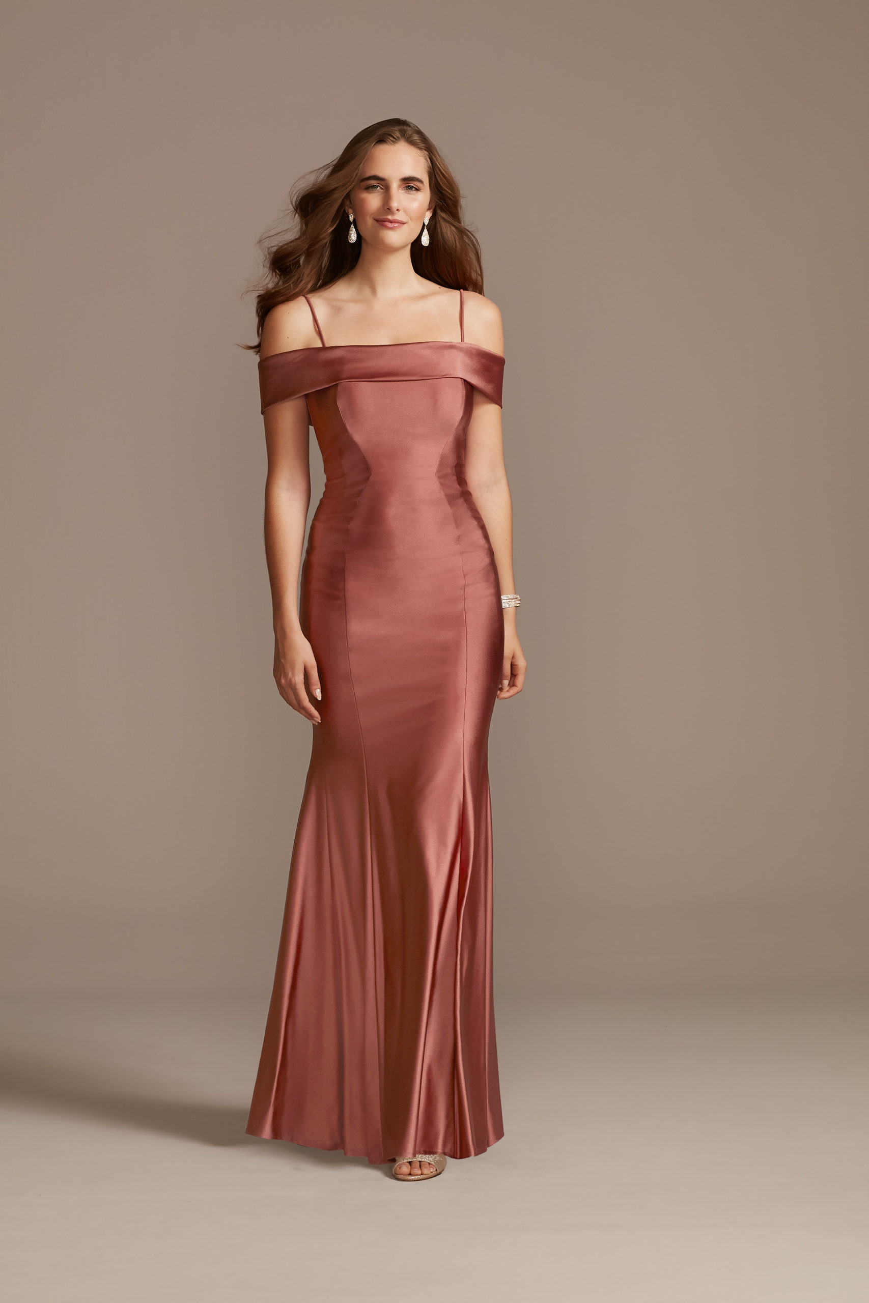 Off the Shoulder Satin Mermaid Gown with Bow