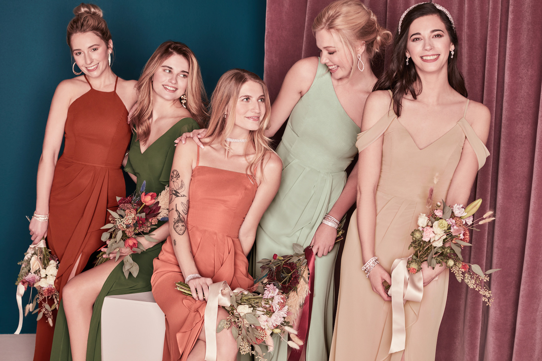 bridal party in earthy bridesmaid dresses