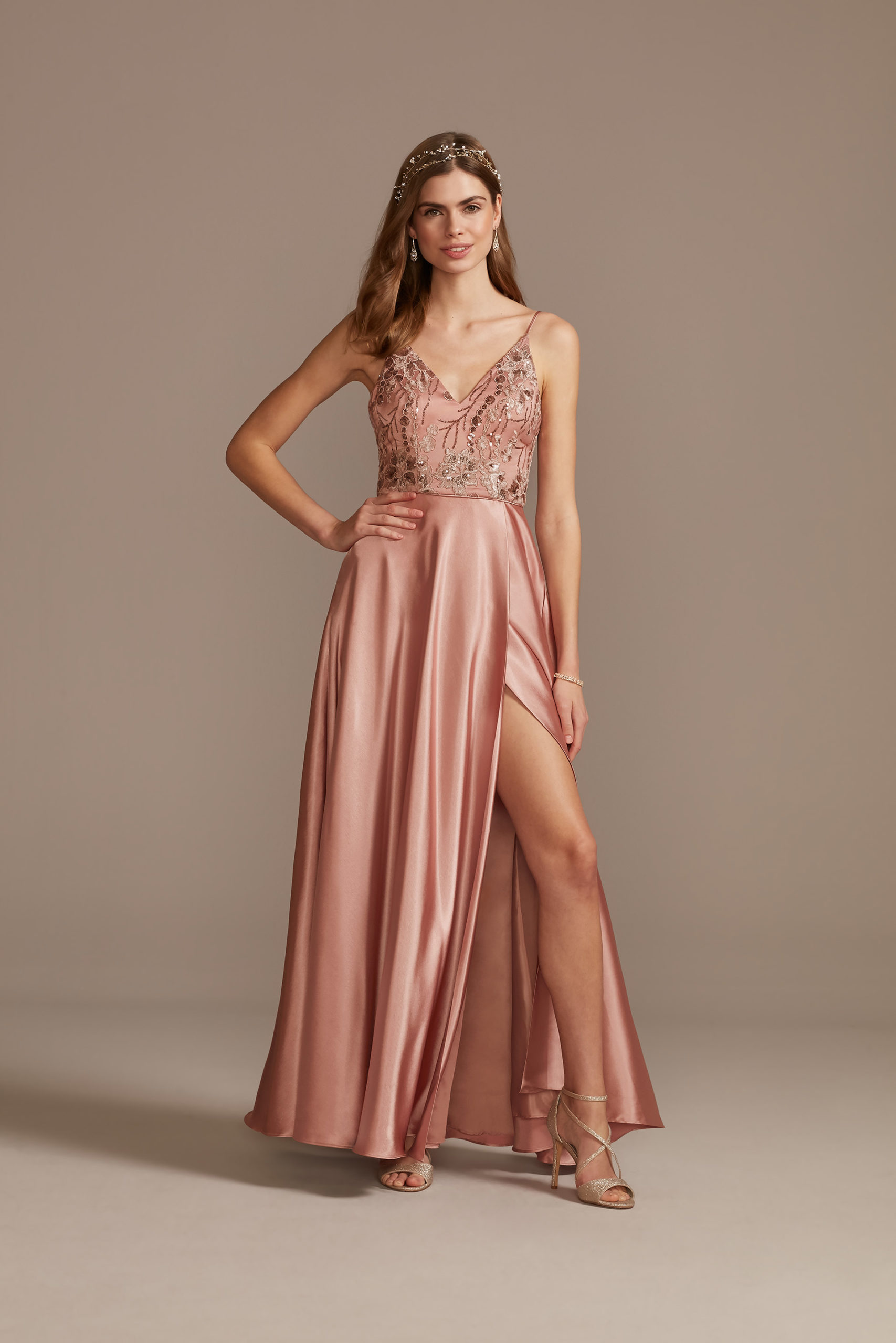 peach Floral Embellished prom dress with Satin Split Skirt