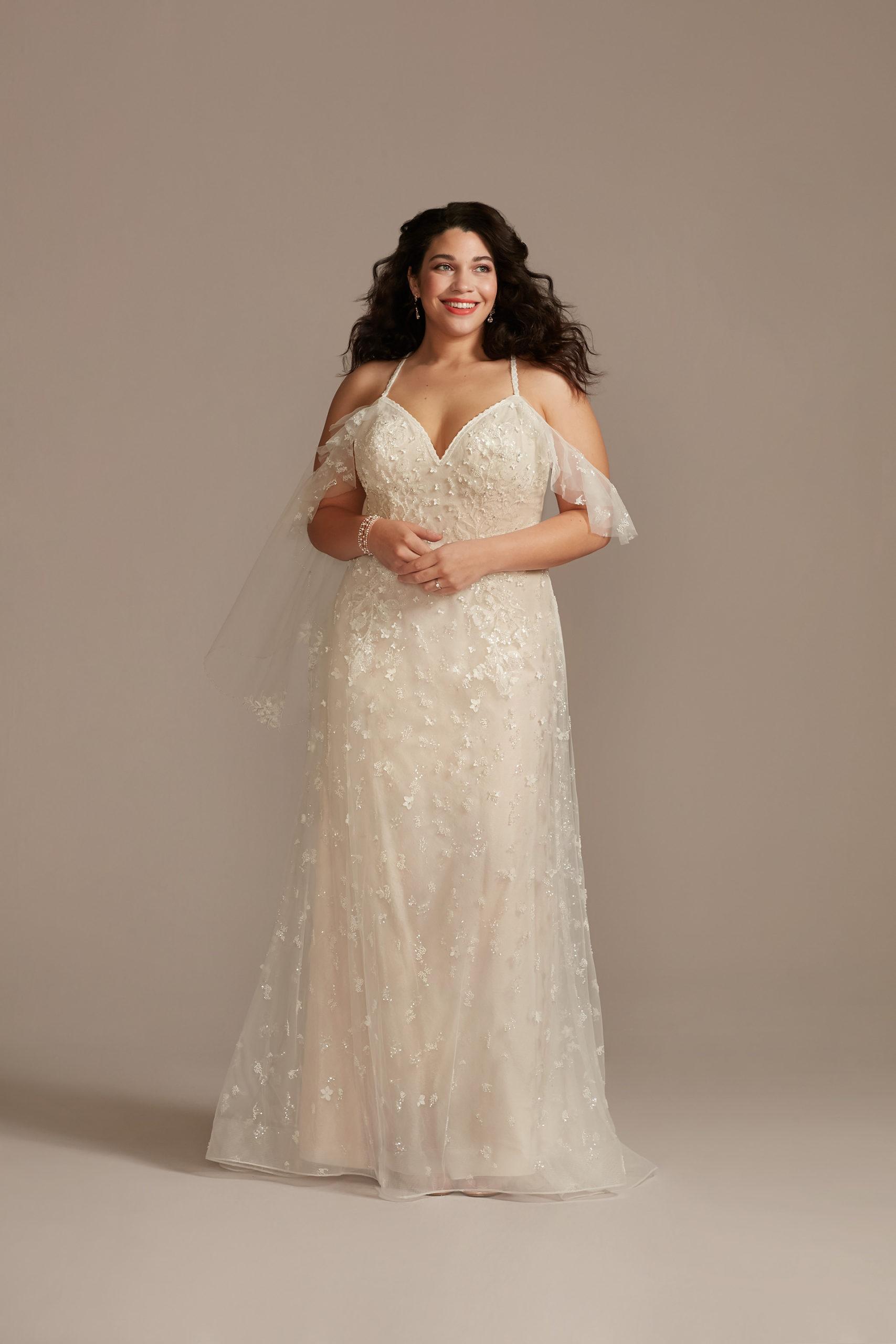 bride wearing ethereal Flutter Sleeve 3D Floral Plus Size Wedding Dress