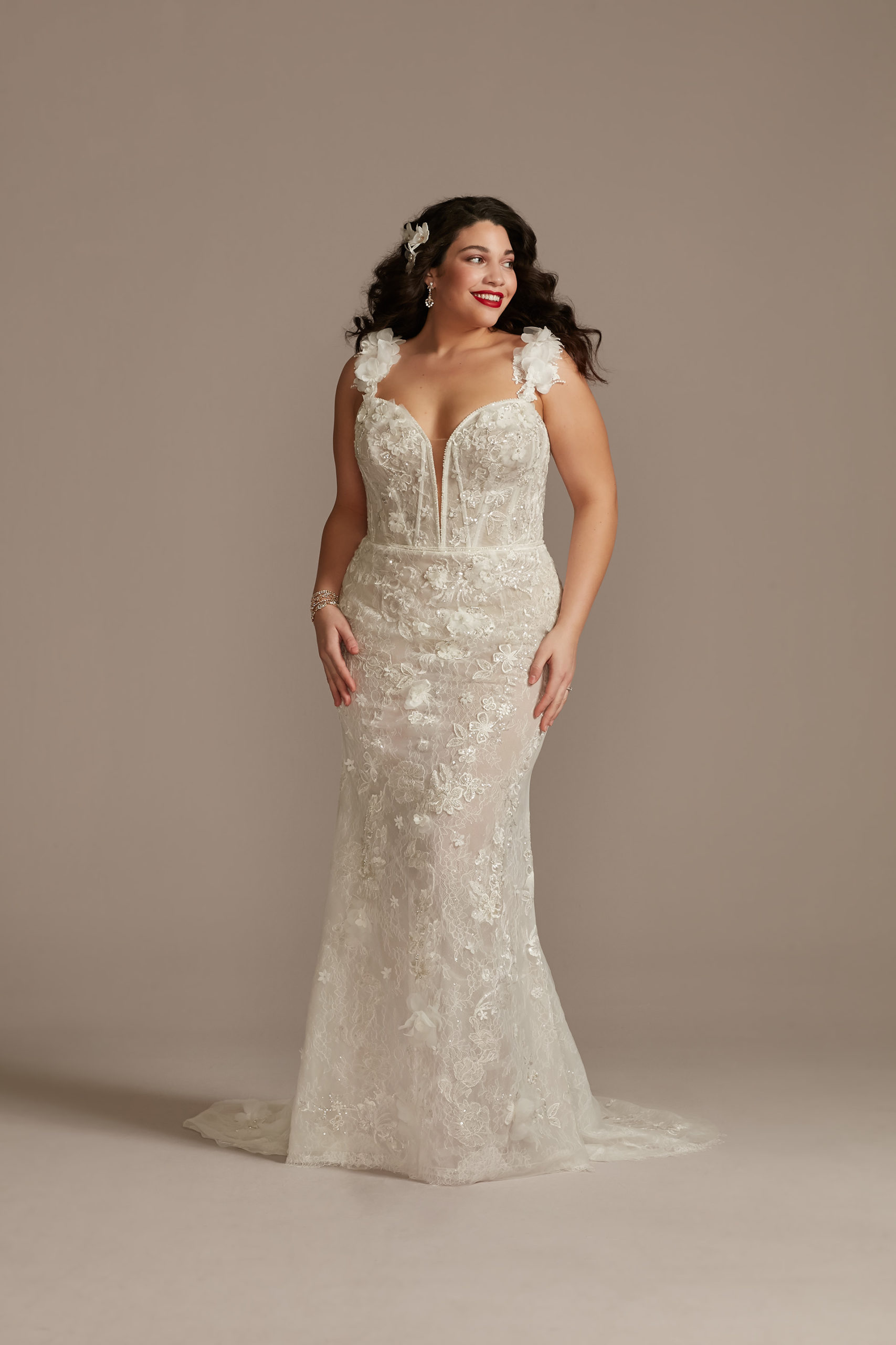 bride wearing 3D Floral Applique Plunge Bodysuit Wedding Dress