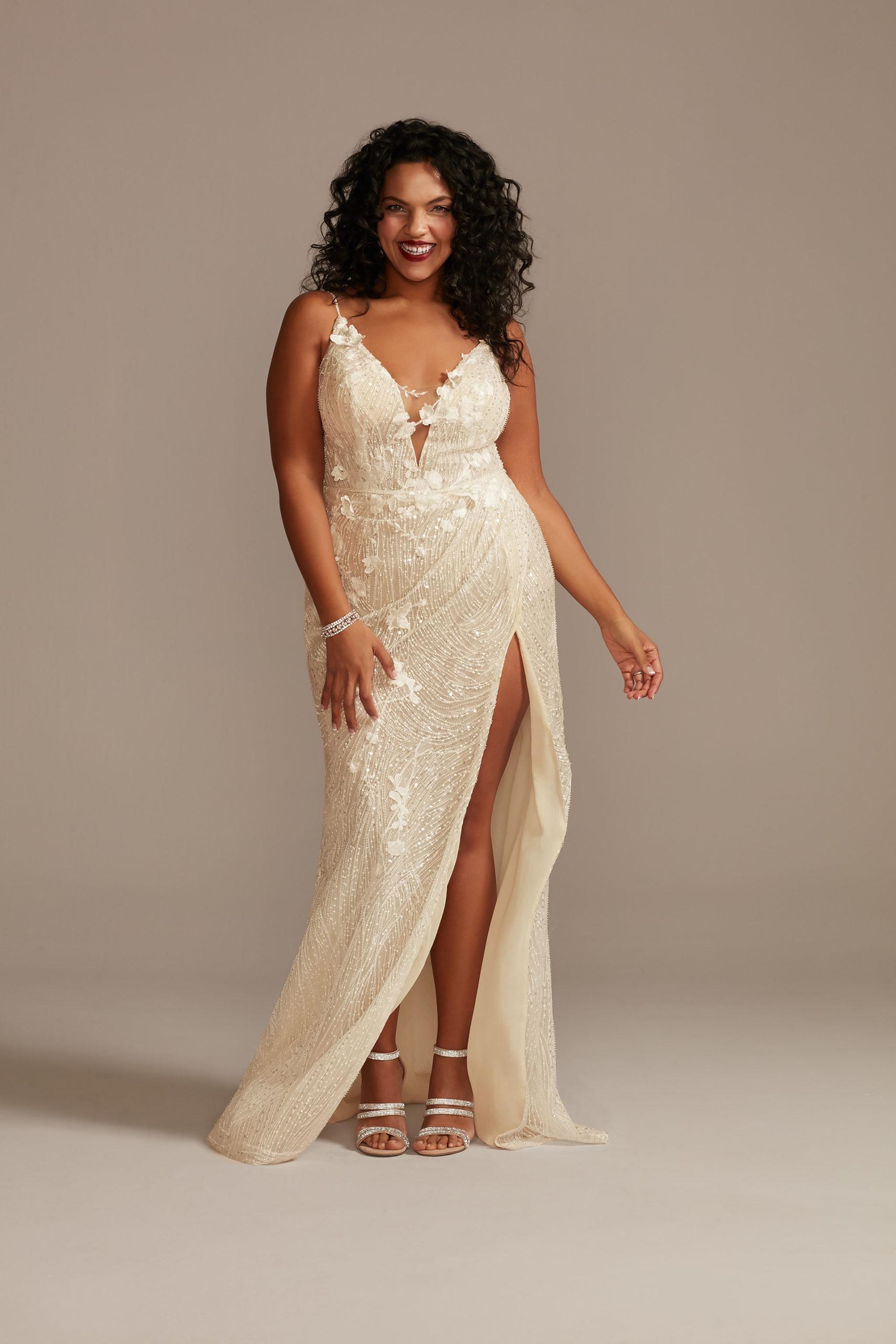 bride wearing Beaded Plunge Wedding Dress with High Slit