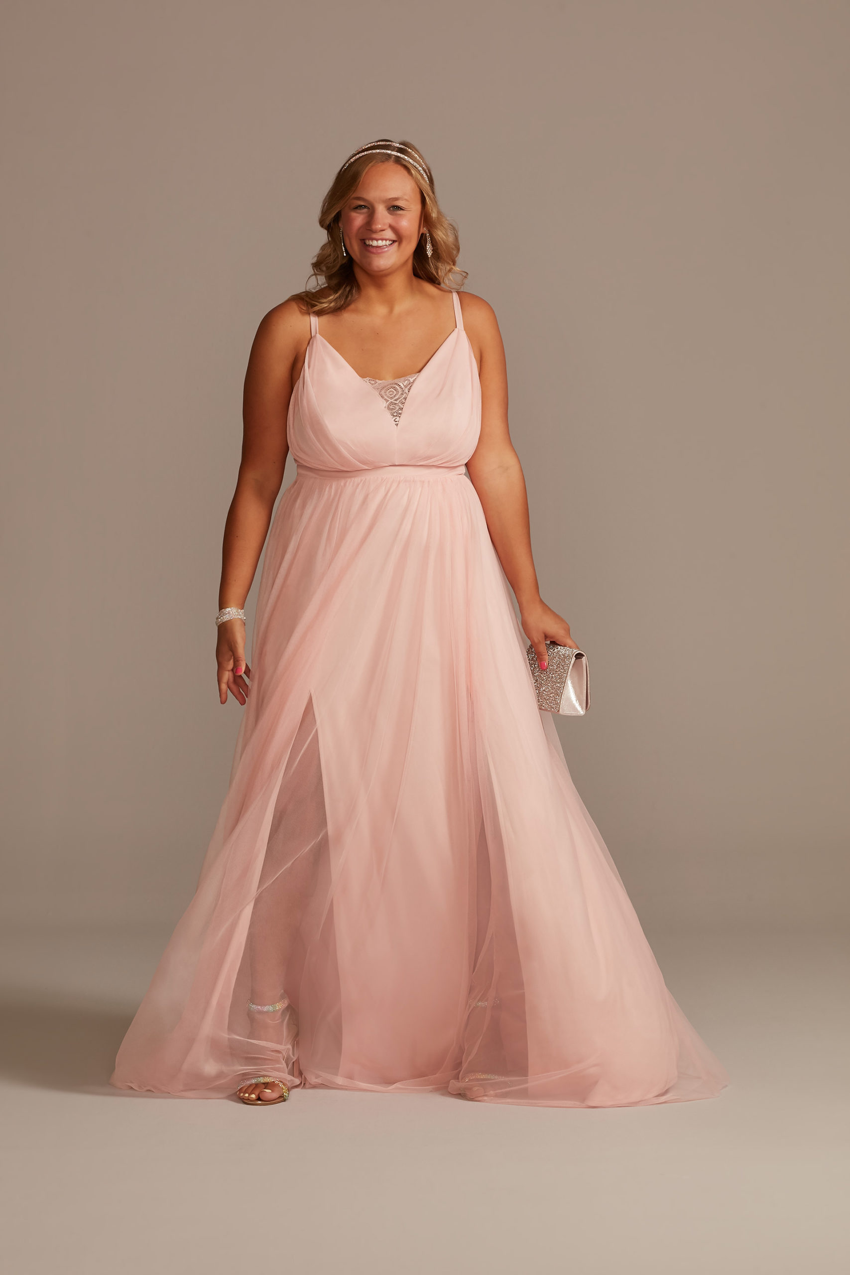 peach Tulle Illusion Plunge A-Line prom dress