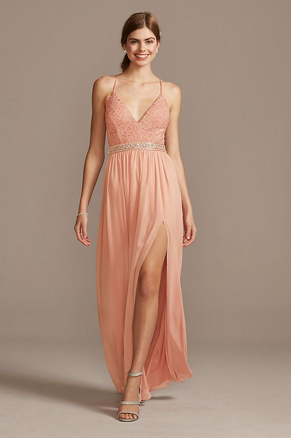 peach Lace Bodice Illusion Back prom gown with Crystal Belt