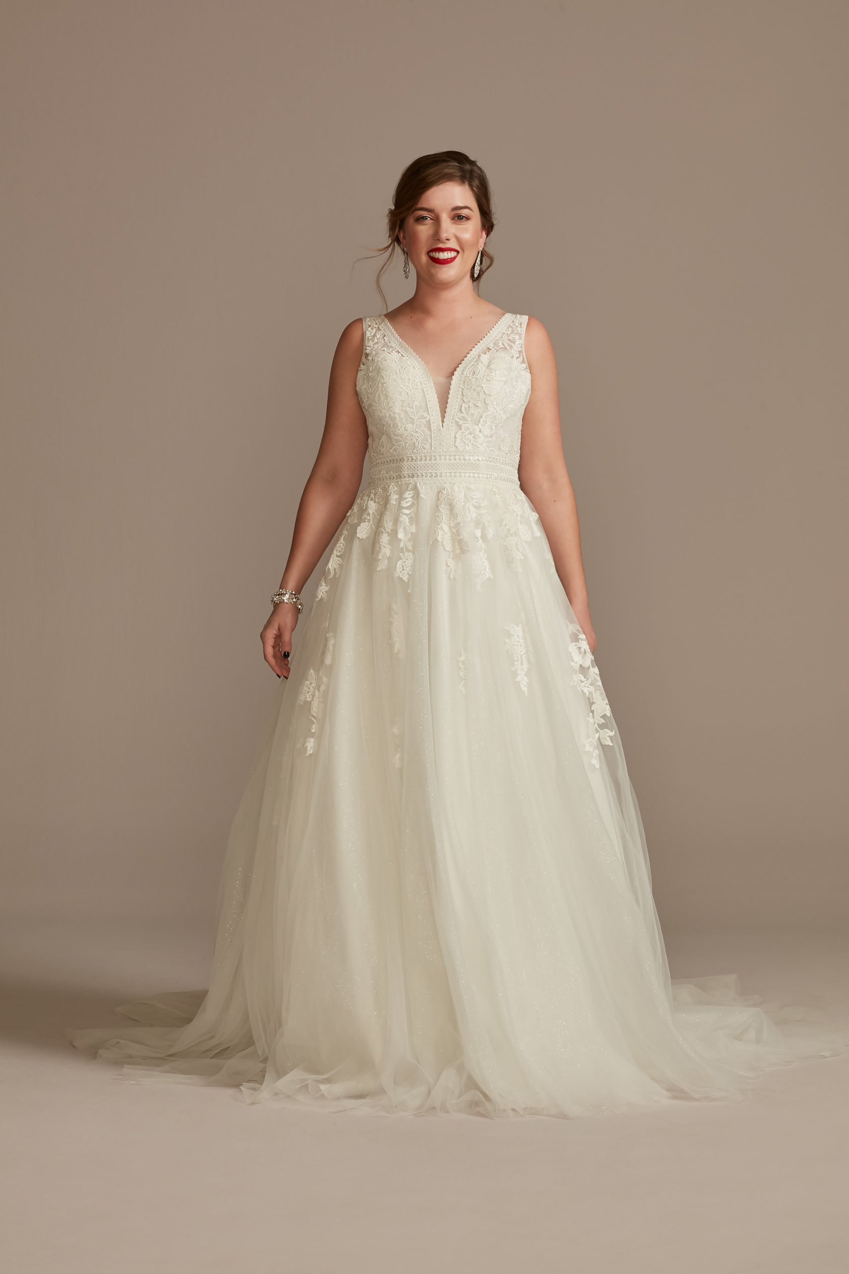 bride wearing ethereal Embroidered V-Neck Wedding Dress with Tulle Skirt