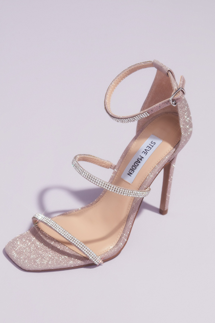 detail shot of Crystal Strap Stiletto Sandals from steve madden x db wedding shoes collection