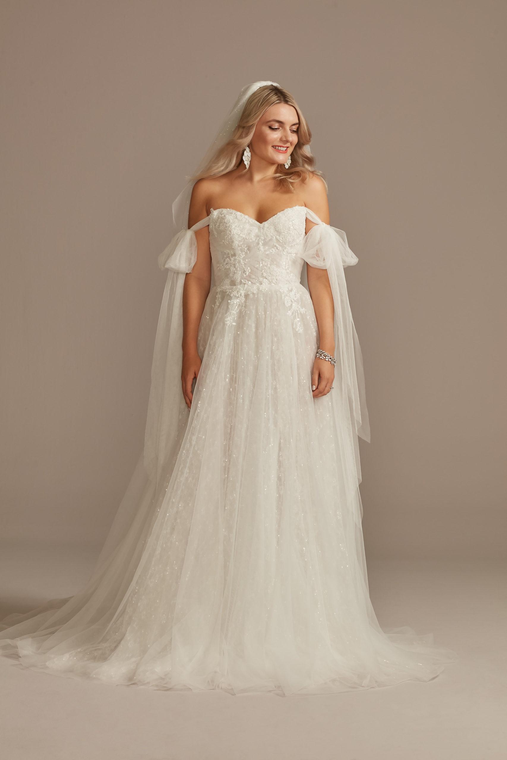 bride wearing Convertible Straps Tulle Bodysuit Wedding Dress