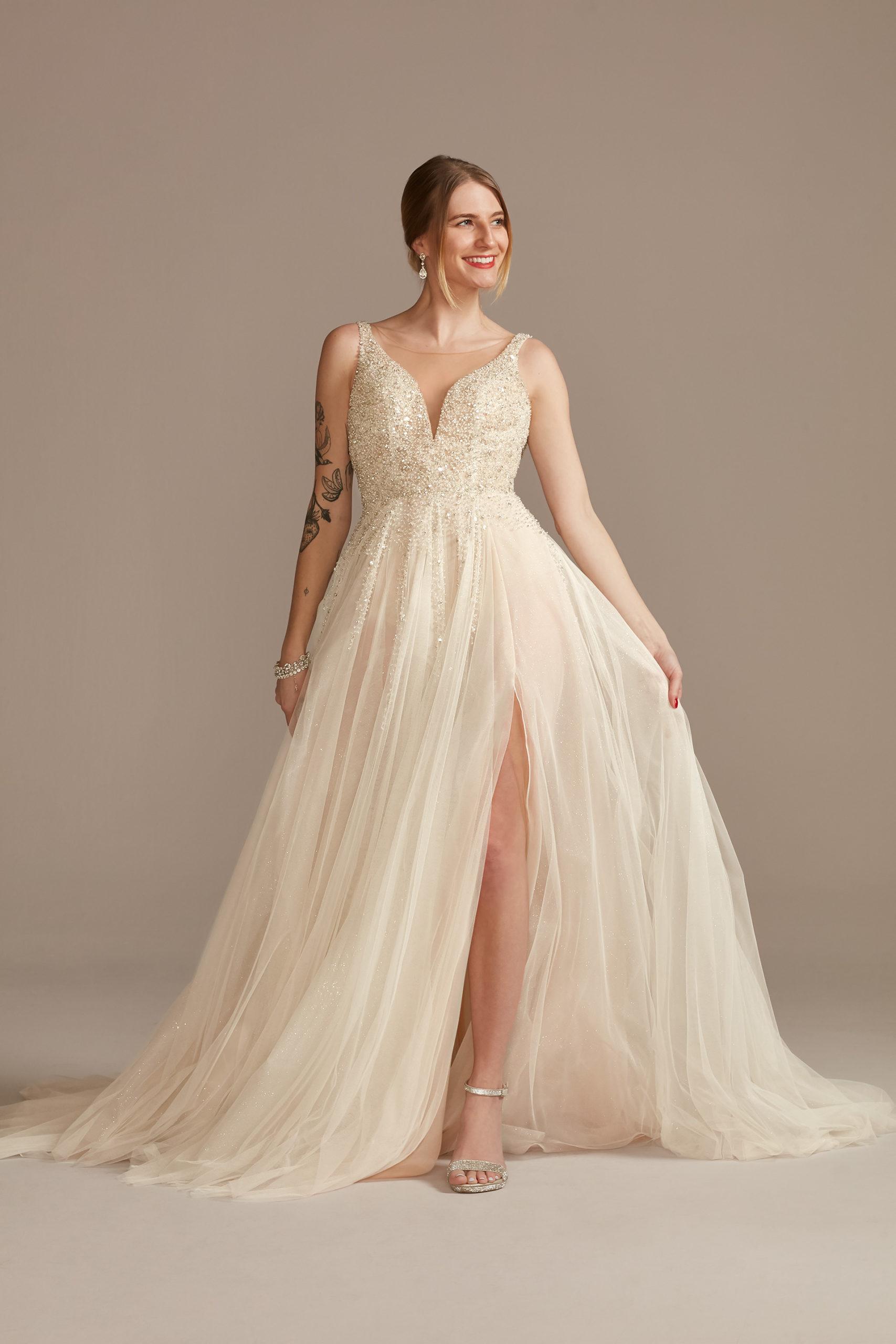 bride wearing Beaded Plunge Illusion Bodysuit Wedding Dress