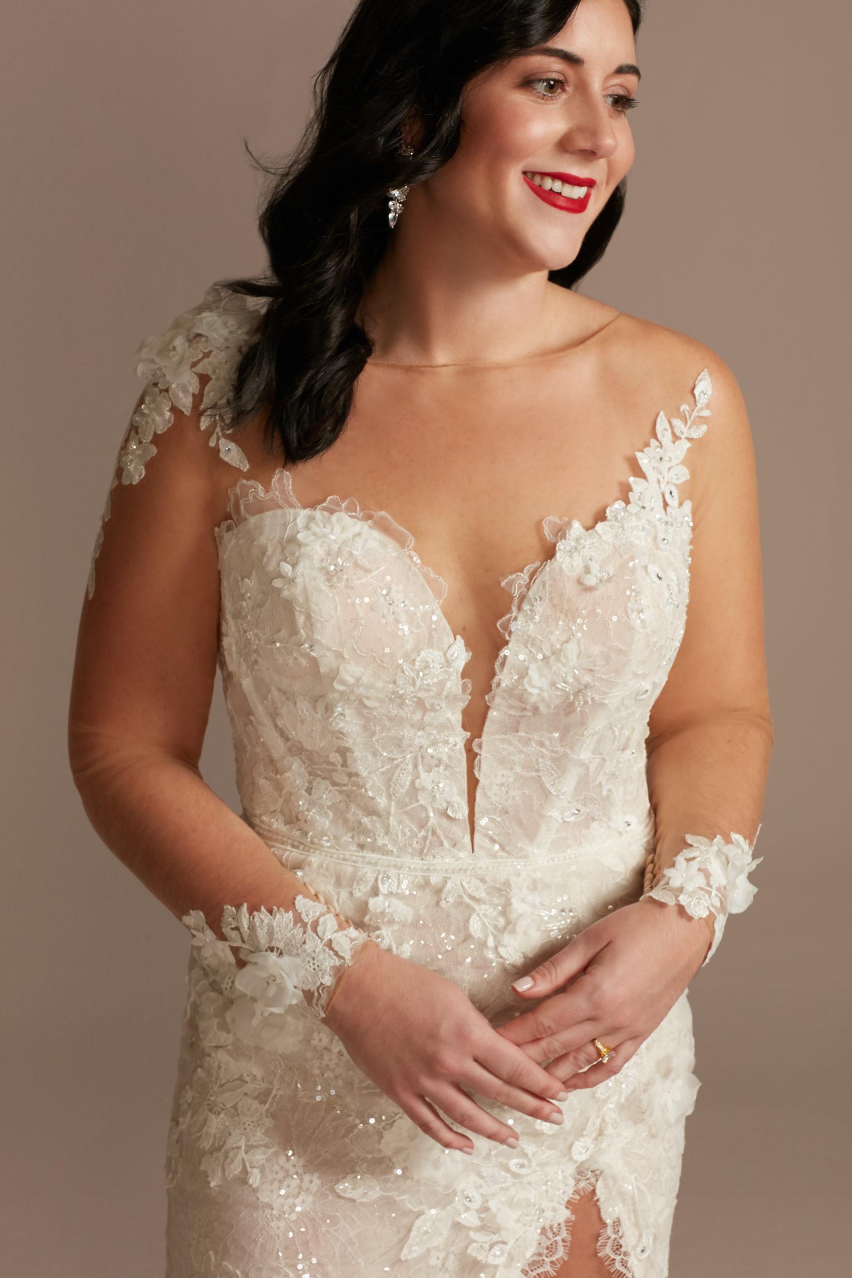 bride wearing ethereal 3D Floral Applique Wedding Dress with High Slit