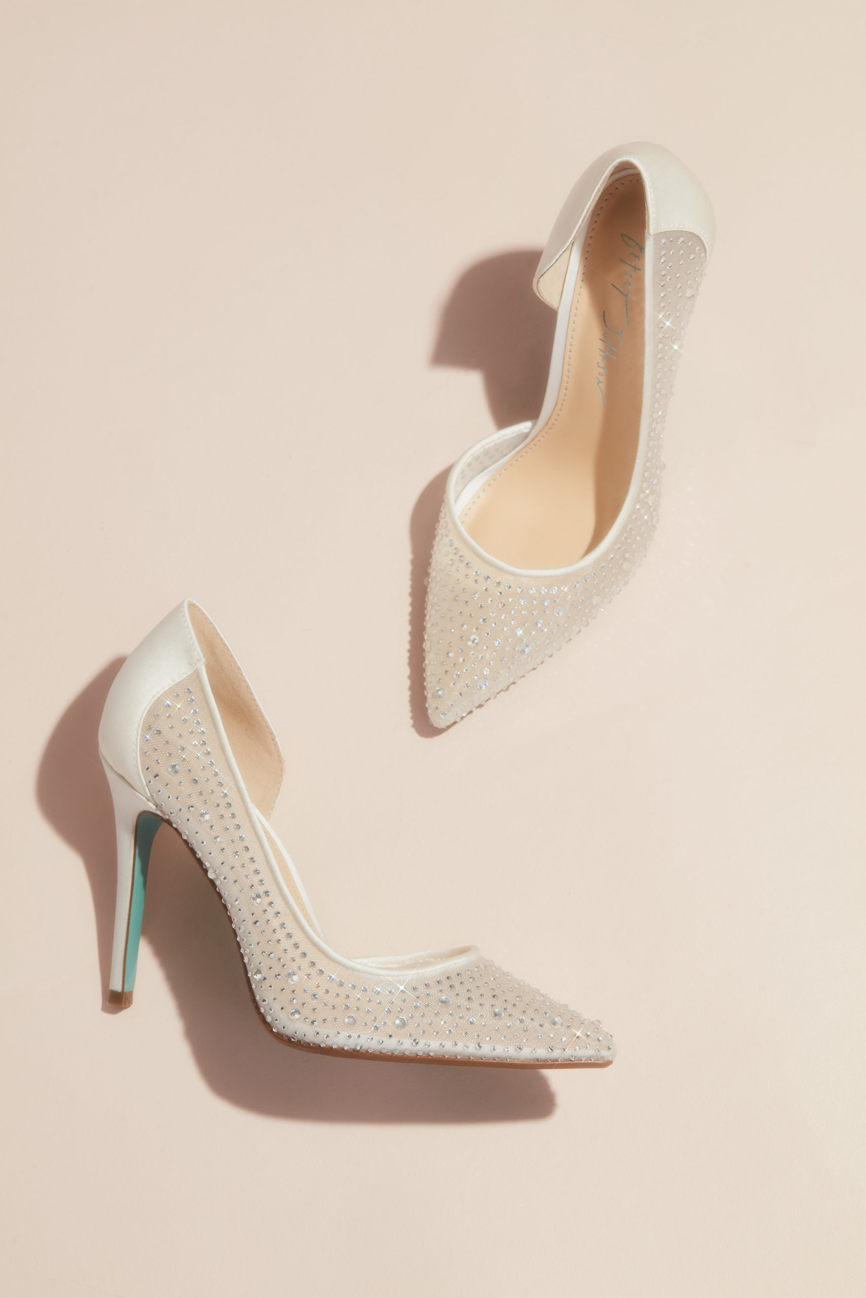 Mesh and Satin crystal pumps from the Betsey Johnson X David's Bridal collection